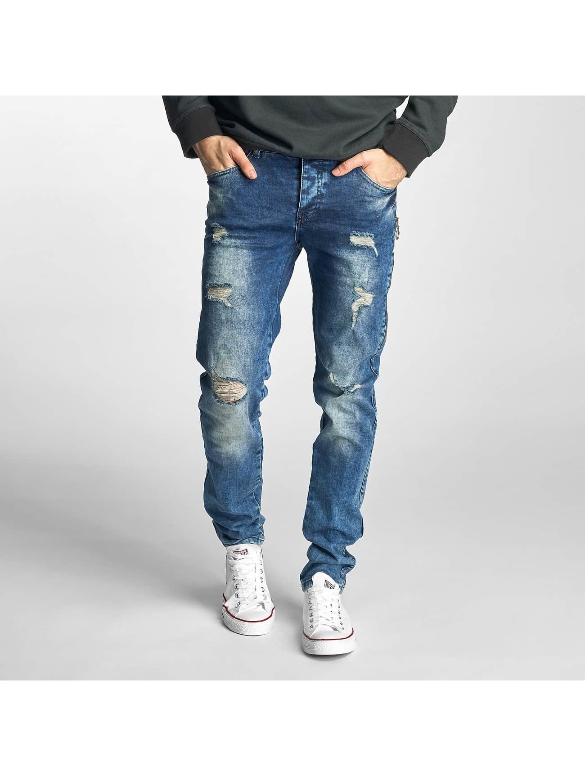 Just Rhyse heren straight fit jeans Destroyed - blauw