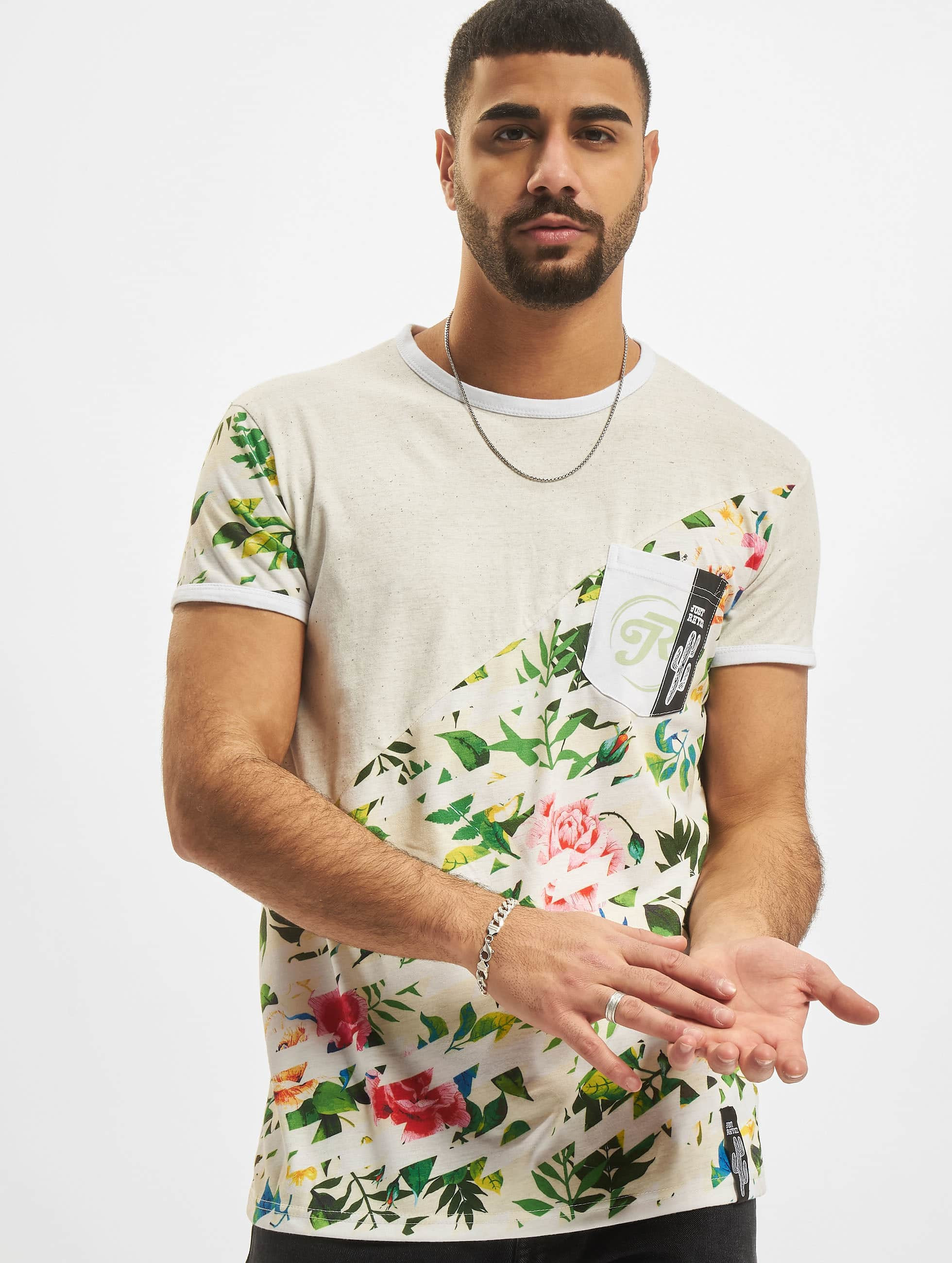 T-Shirt Floral in grau