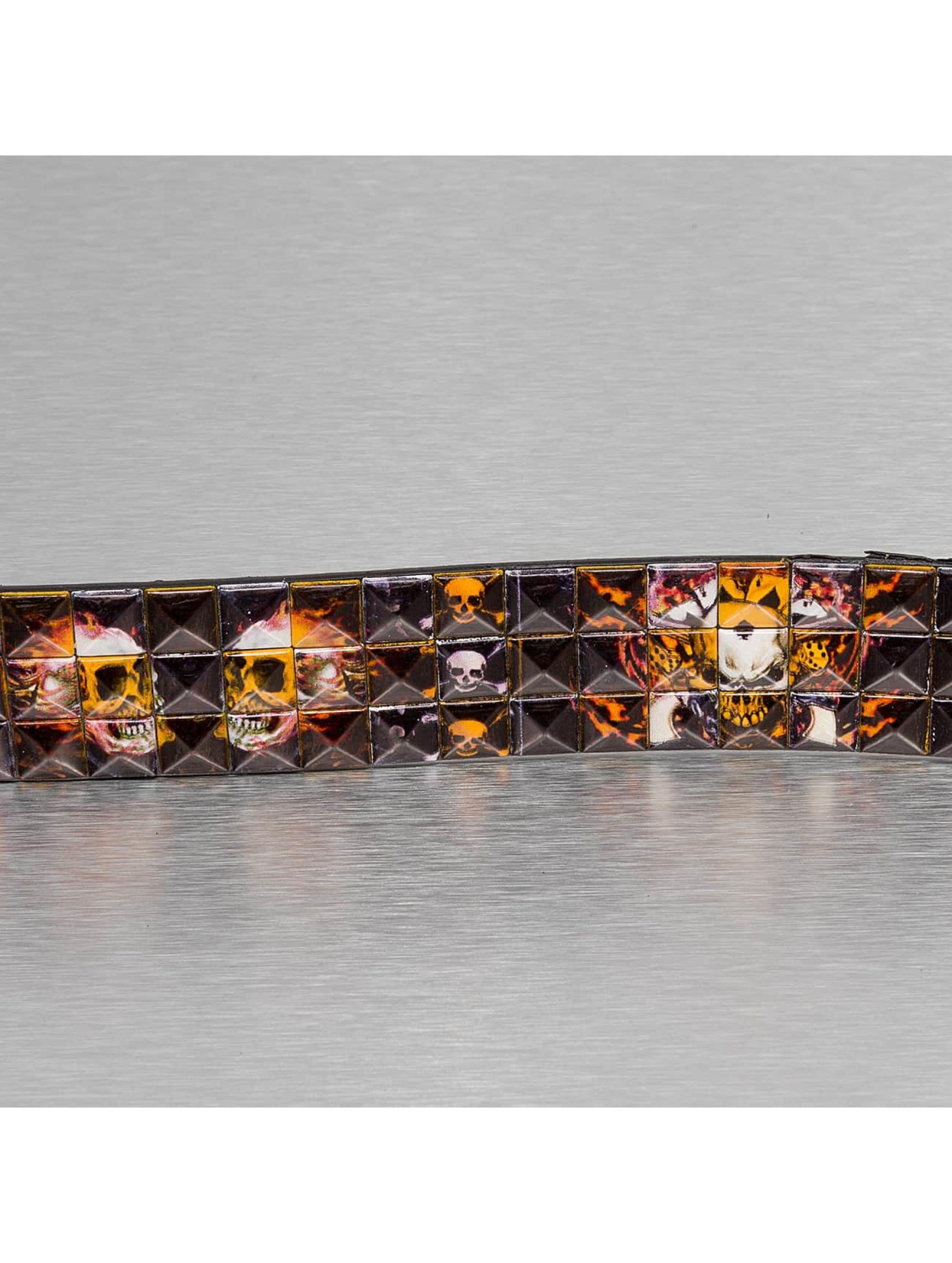 Kaiser Jewelry Ремень 3 Row Skull черный