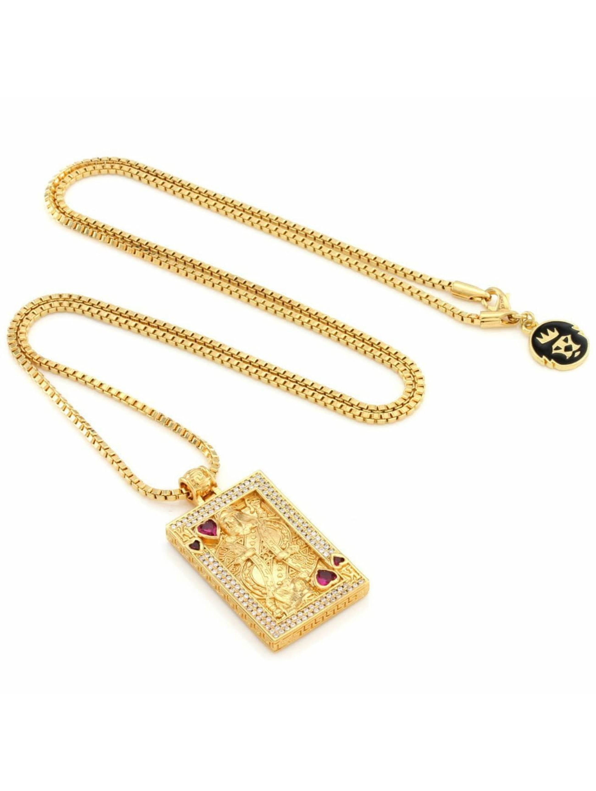 KING ICE Łańcuchy Gold_Plated CZ Suicide King zloty