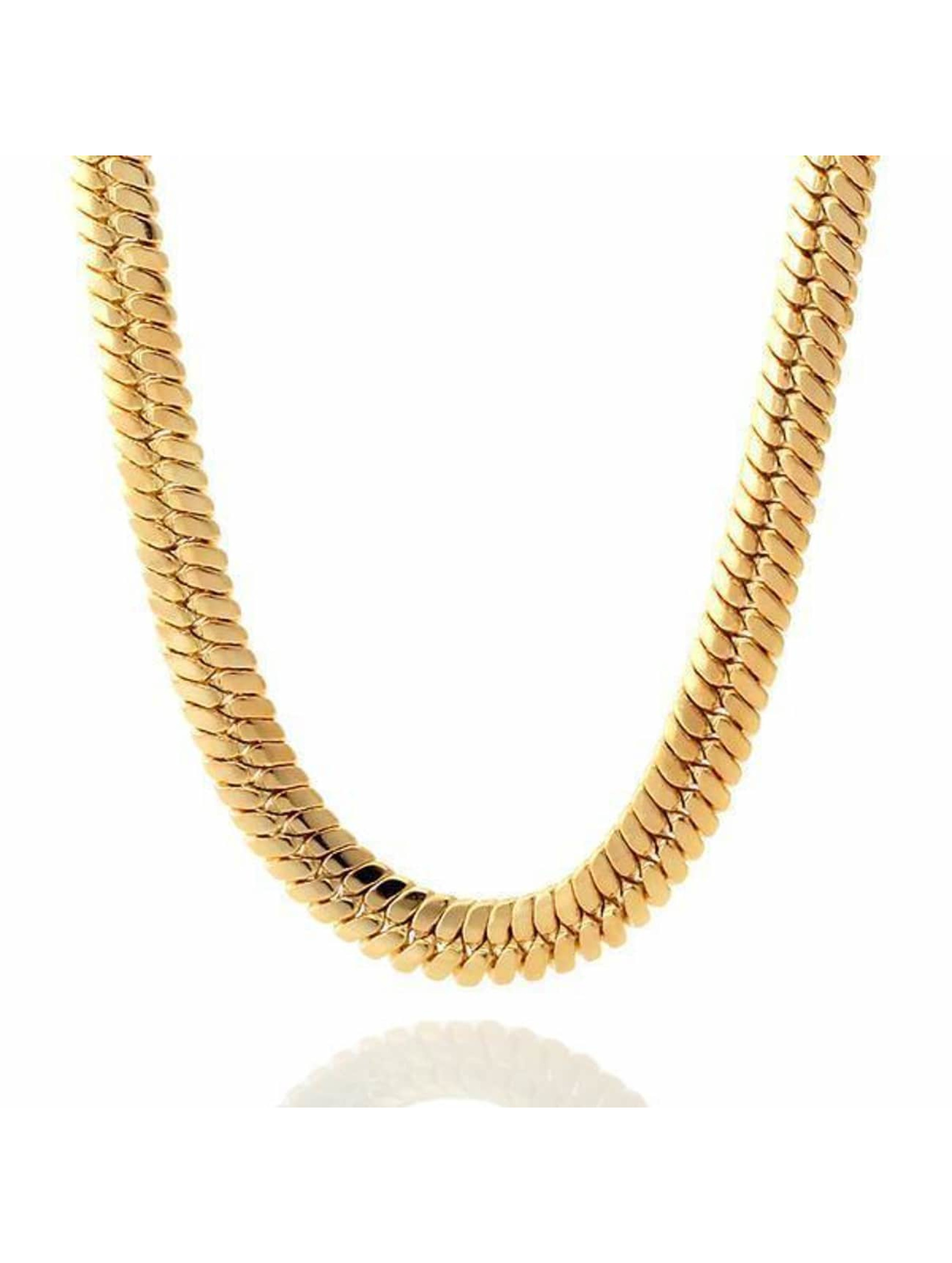 KING ICE Łańcuchy Gold_Plated 10mm Thick Herringbone zloty