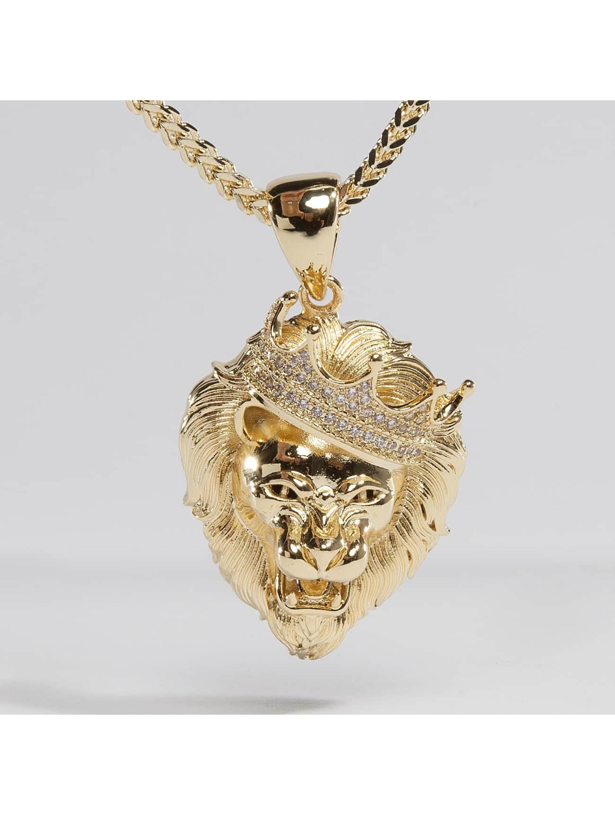 KING ICE Łańcuchy Gold_Plated CZ Roaring Lion zloty