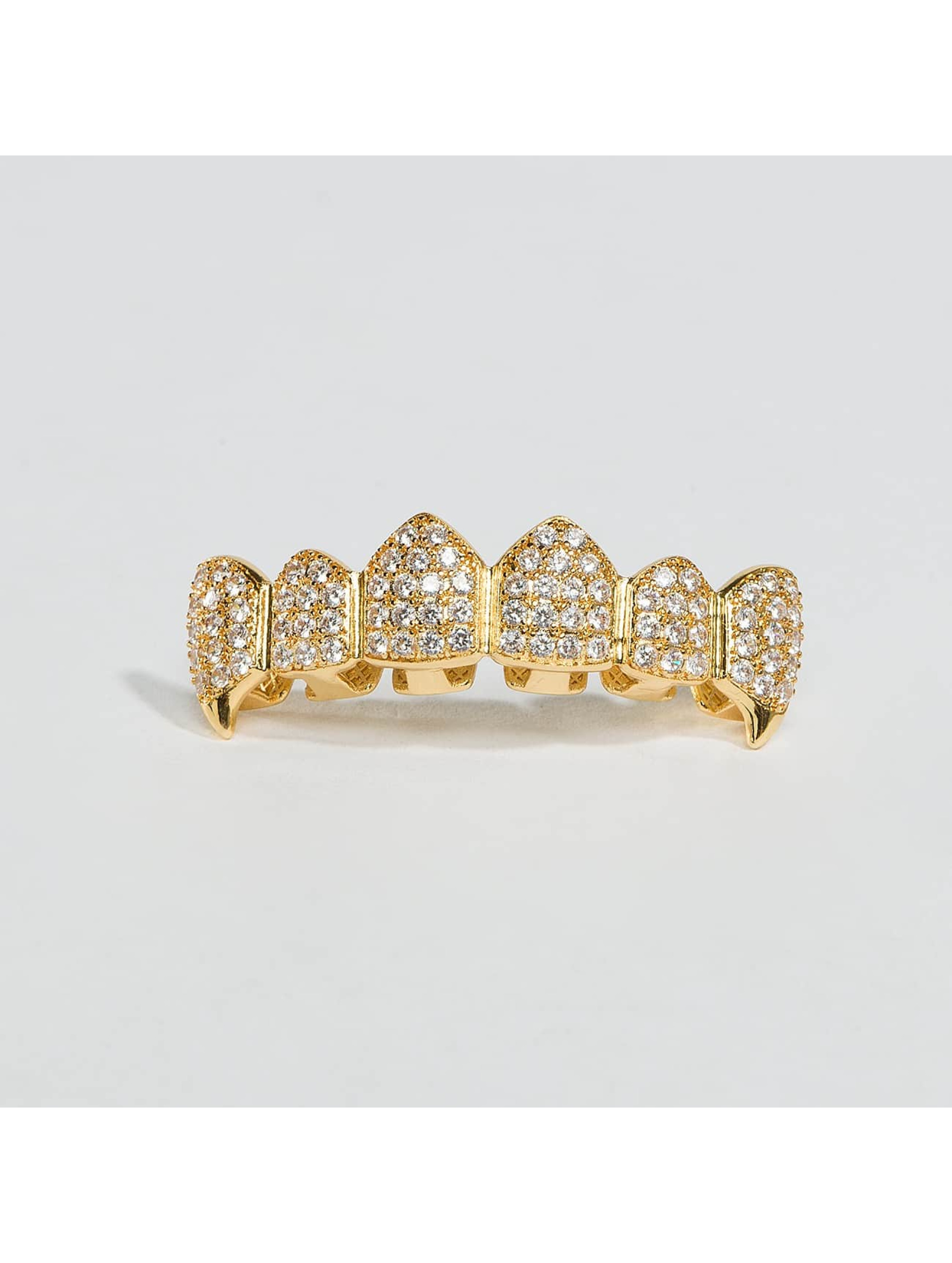 KING ICE Autres Gold_Plated CZ Dracula Teeth Top or