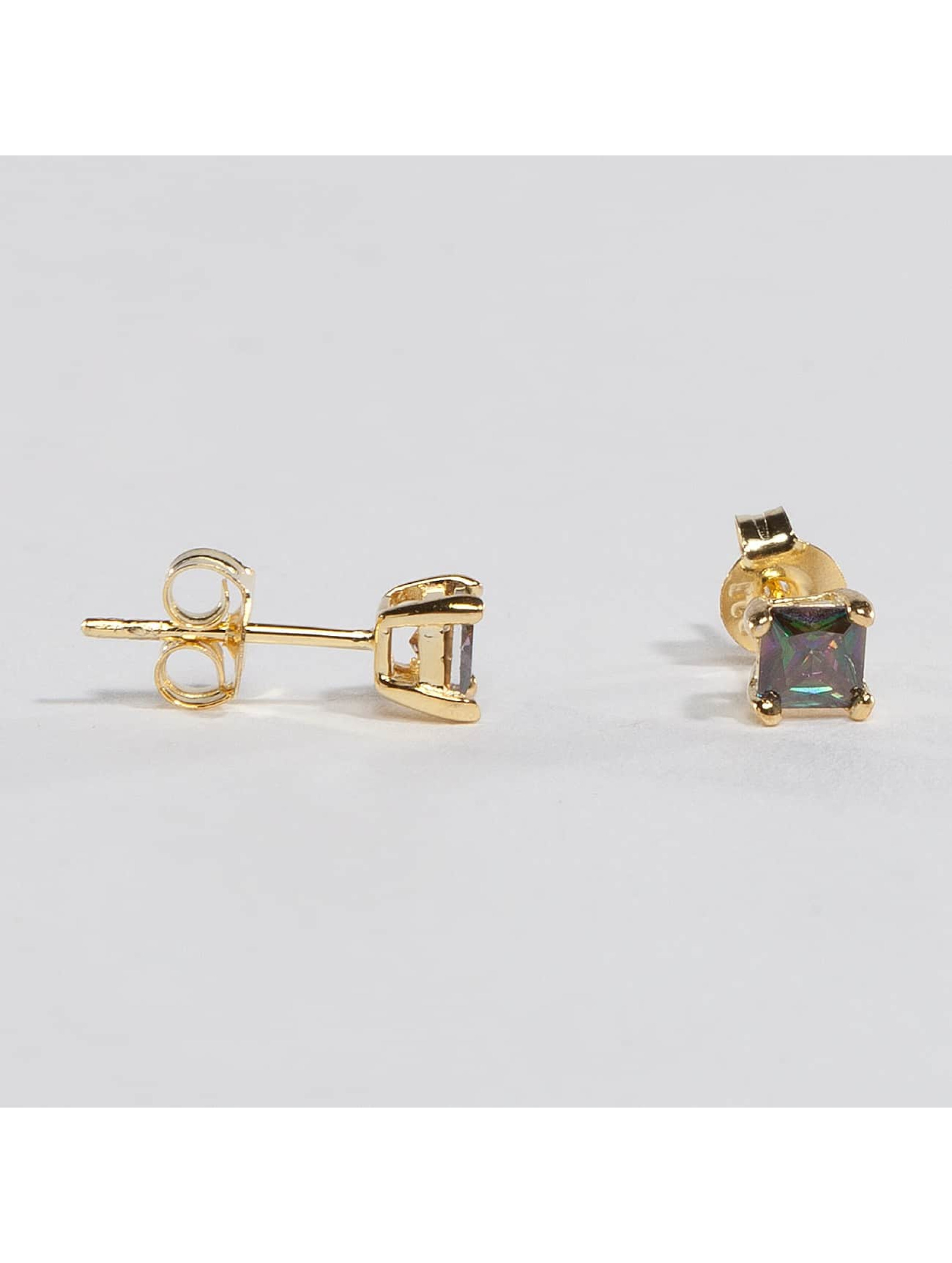 KING ICE Boucles d'oreilles Gold_Plated 4mm 925 Sterling_Silver CZ Princess Cut or