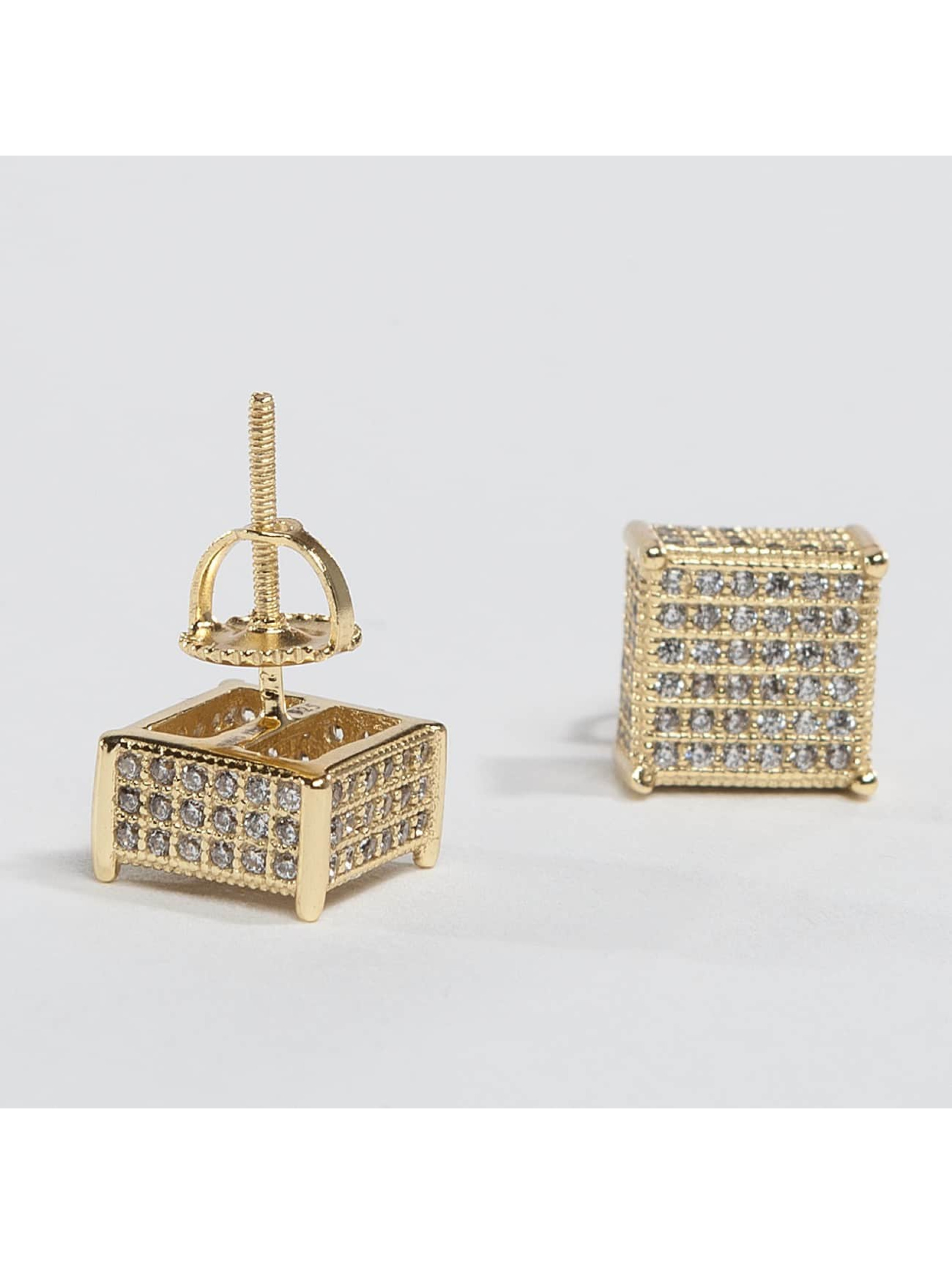 KING ICE Boucles d'oreilles Gold_Plated 3D Hip Hop or