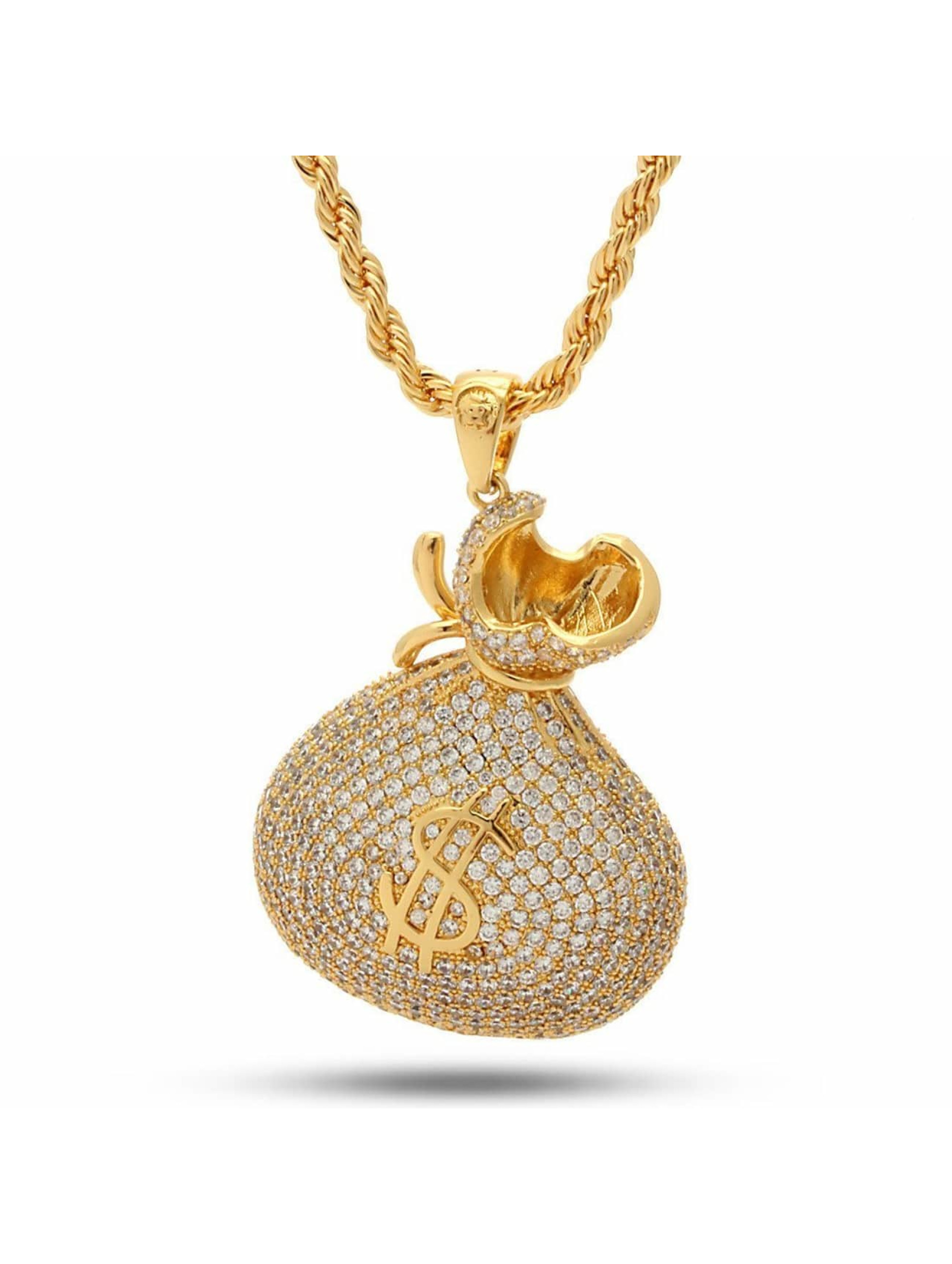 "KING ICE Cadena ""Stash"" Iced-Out Money Bag oro"