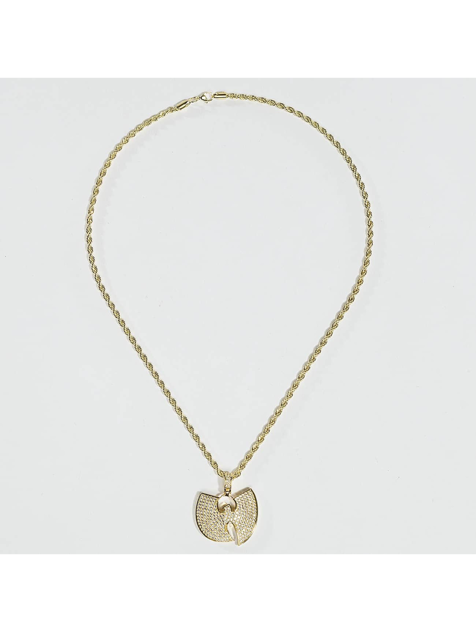 """KING ICE Cadena WU-TANG CLAN Gold_Plated CZ The """"W"""" oro"""