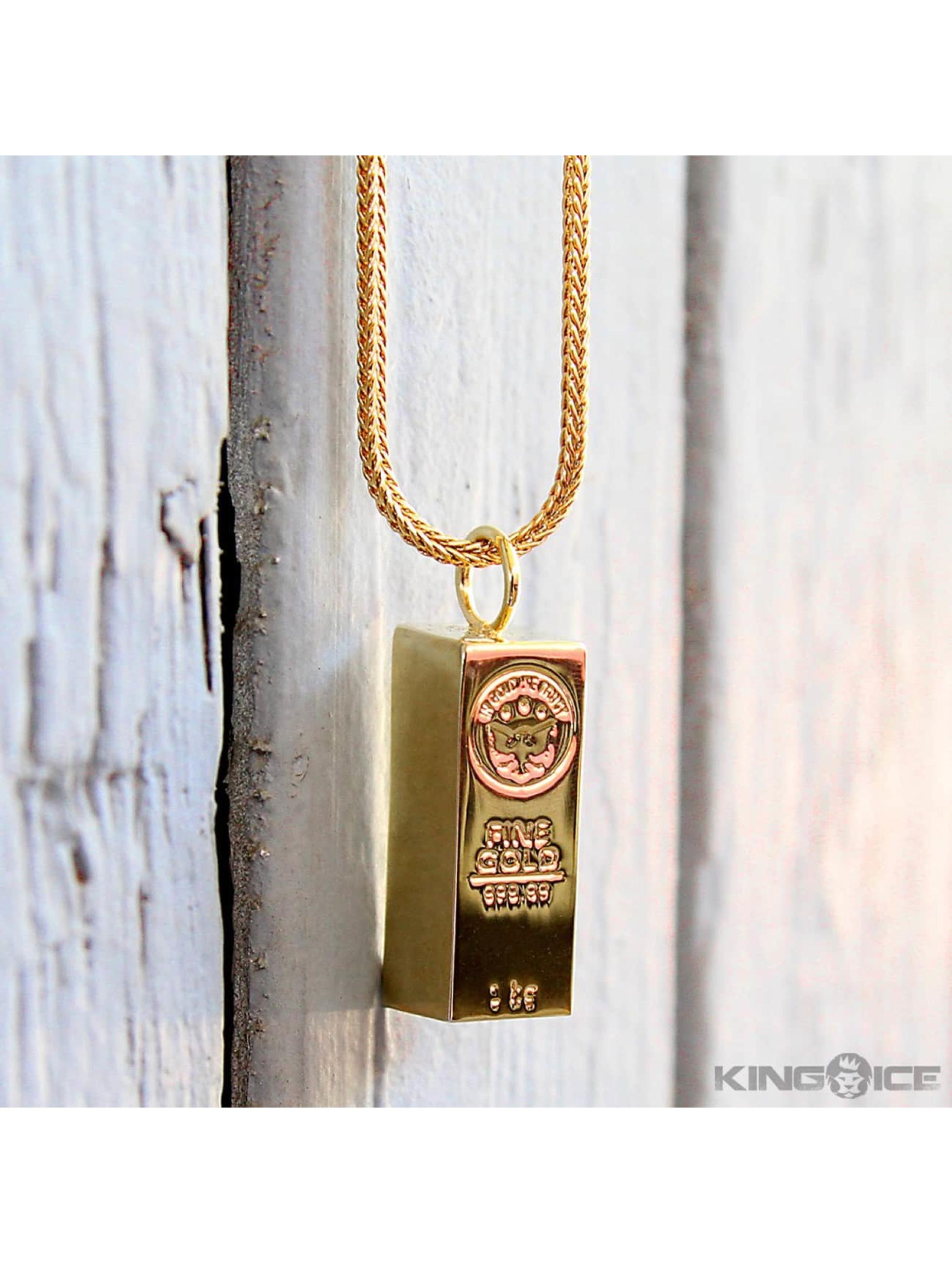 KING ICE Collana Bar Brick oro
