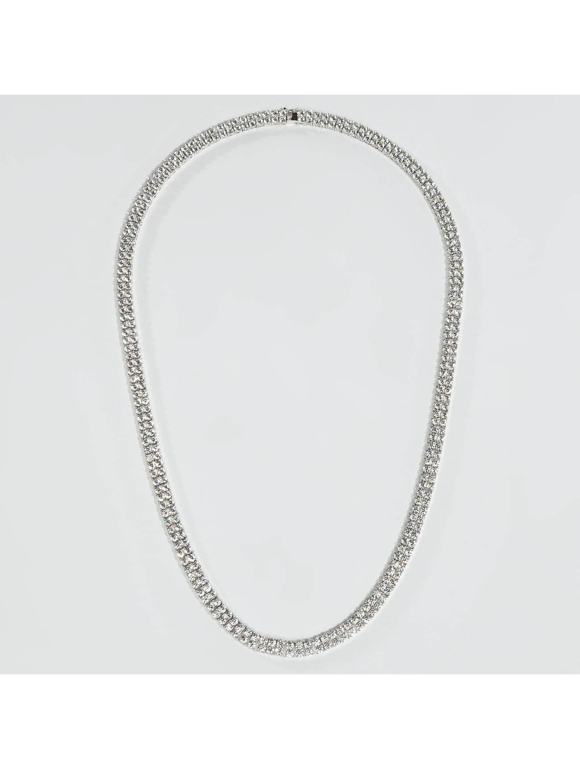 KING ICE Collier Rhodium_Plated 8mm Dual Row Tennis Style argent