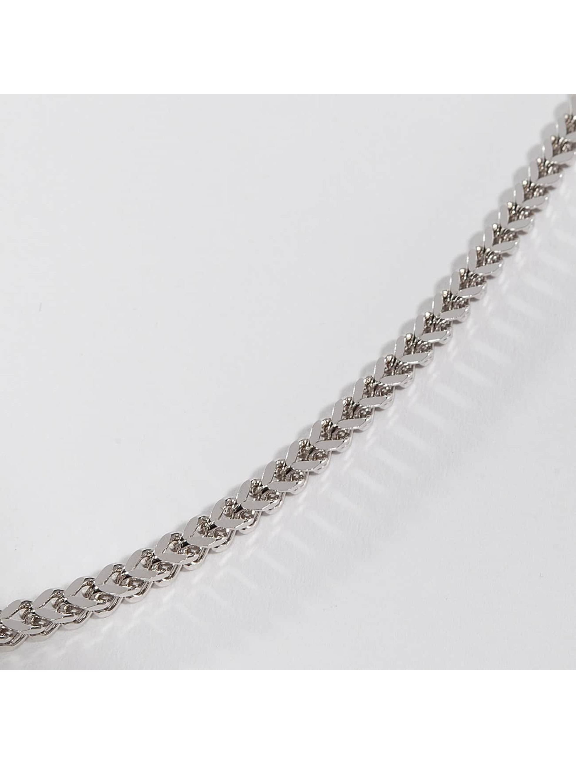 KING ICE Collier Rhodium_Plated 5mm Stainless Steel Franco Chain argent