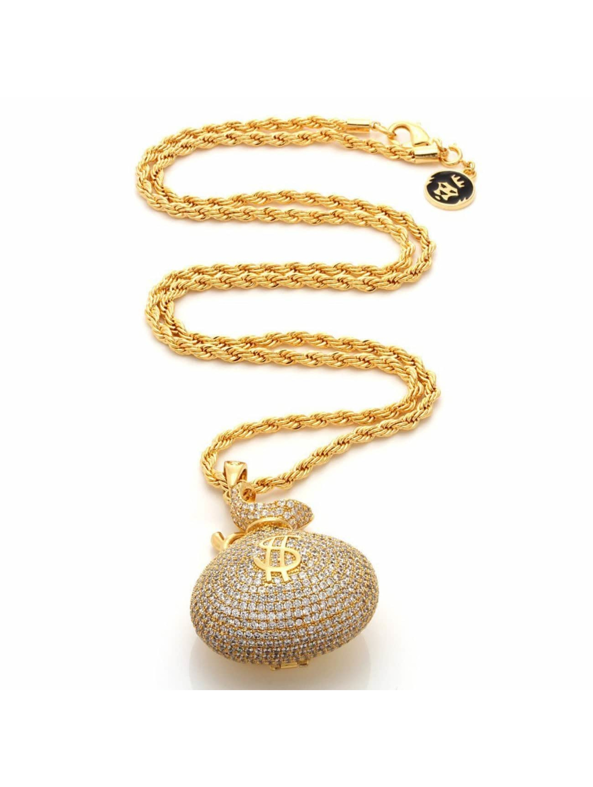 """KING ICE Collier """"Stash"""" Iced-Out Money Bag or"""
