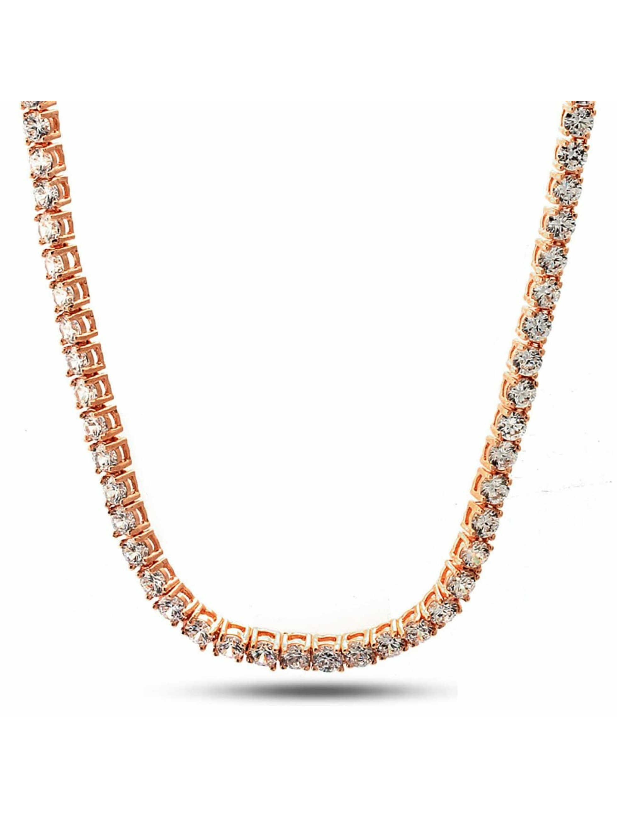 KING ICE Collier Gold_Plated 5mm Single Row CZ Pharaoh or