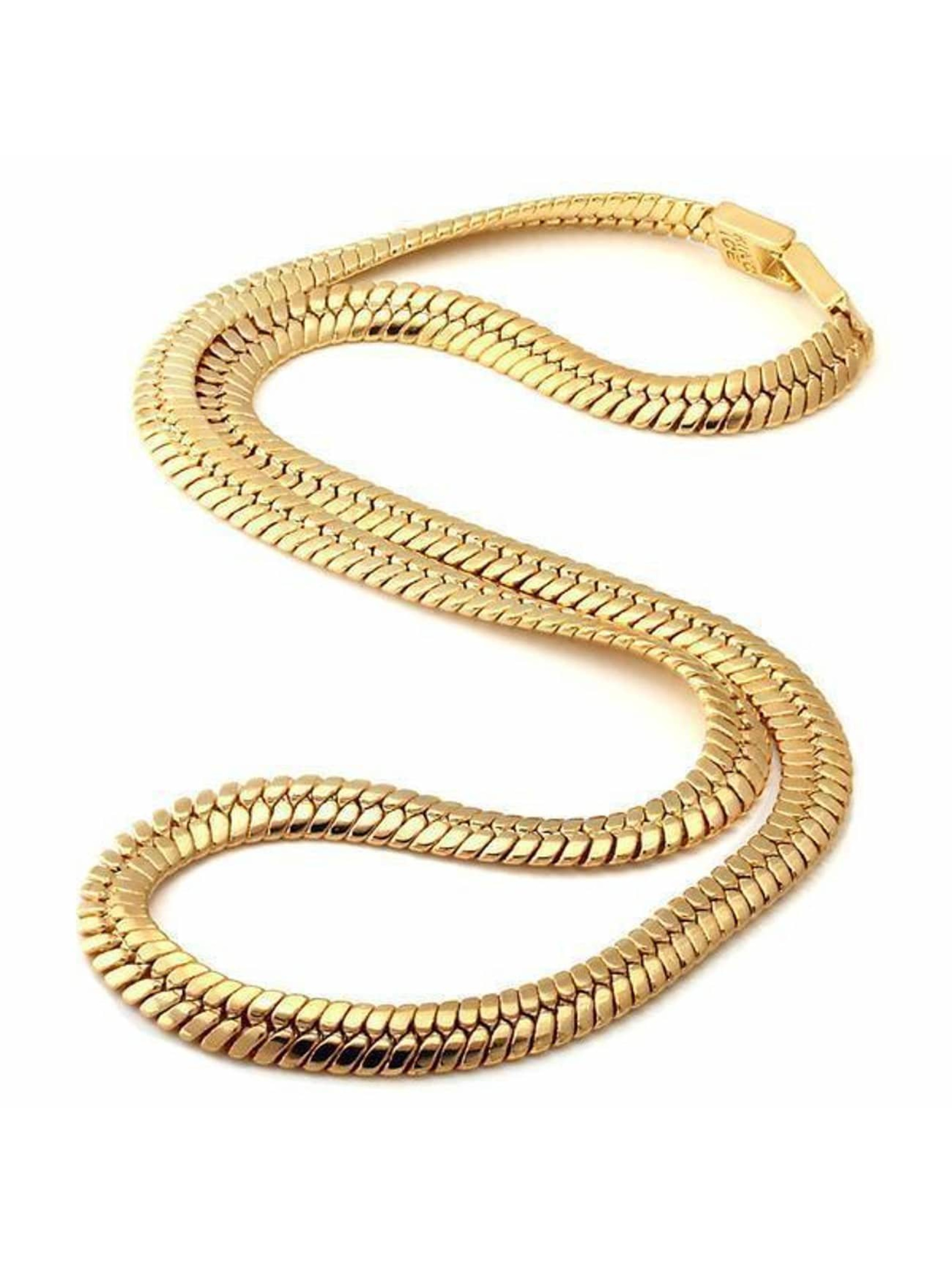 KING ICE Collier Gold_Plated 10mm Thick Herringbone or