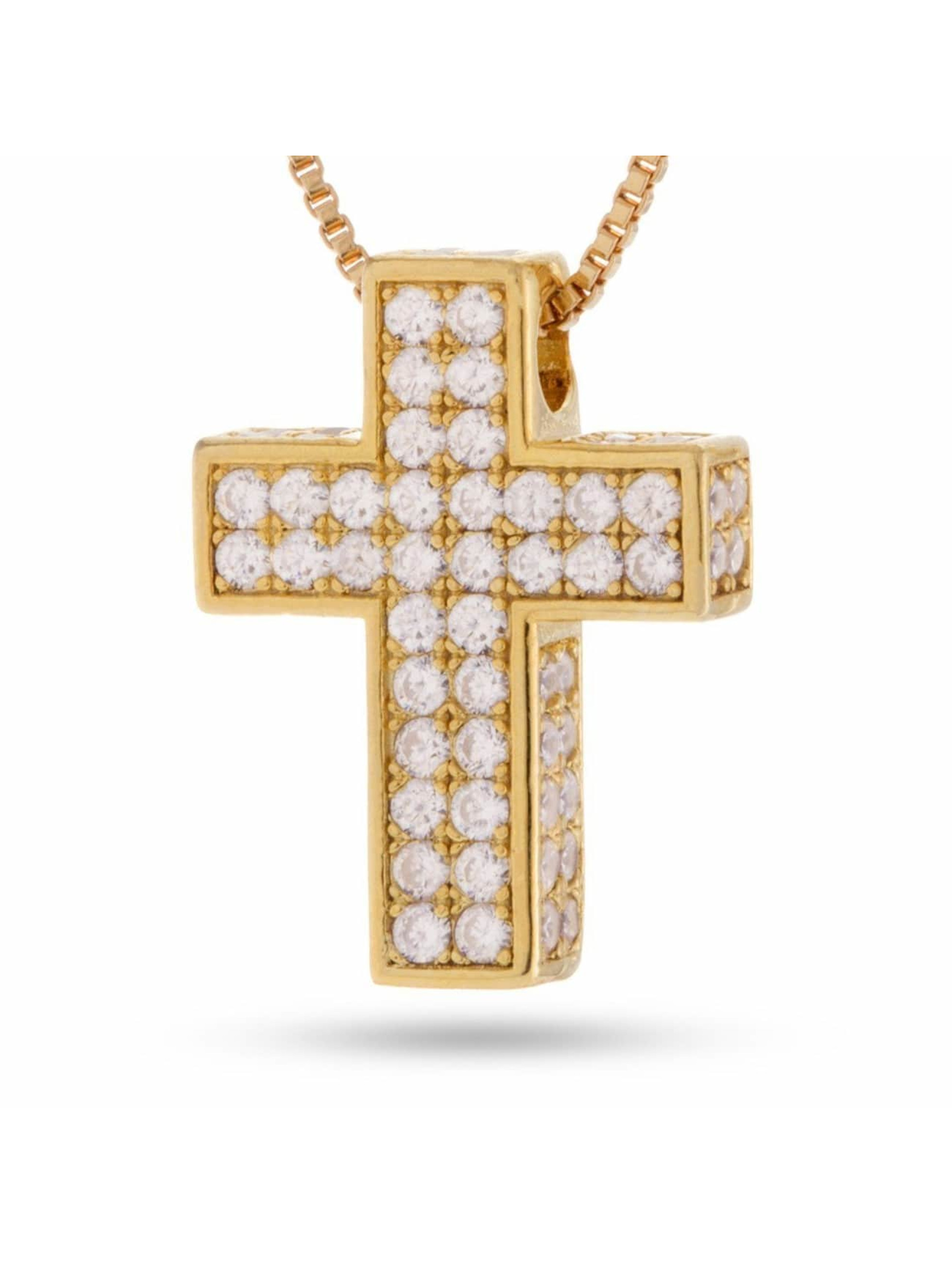 KING ICE Collier Gold_Plated CZ 925 Sterling_Silver Dime Cross or
