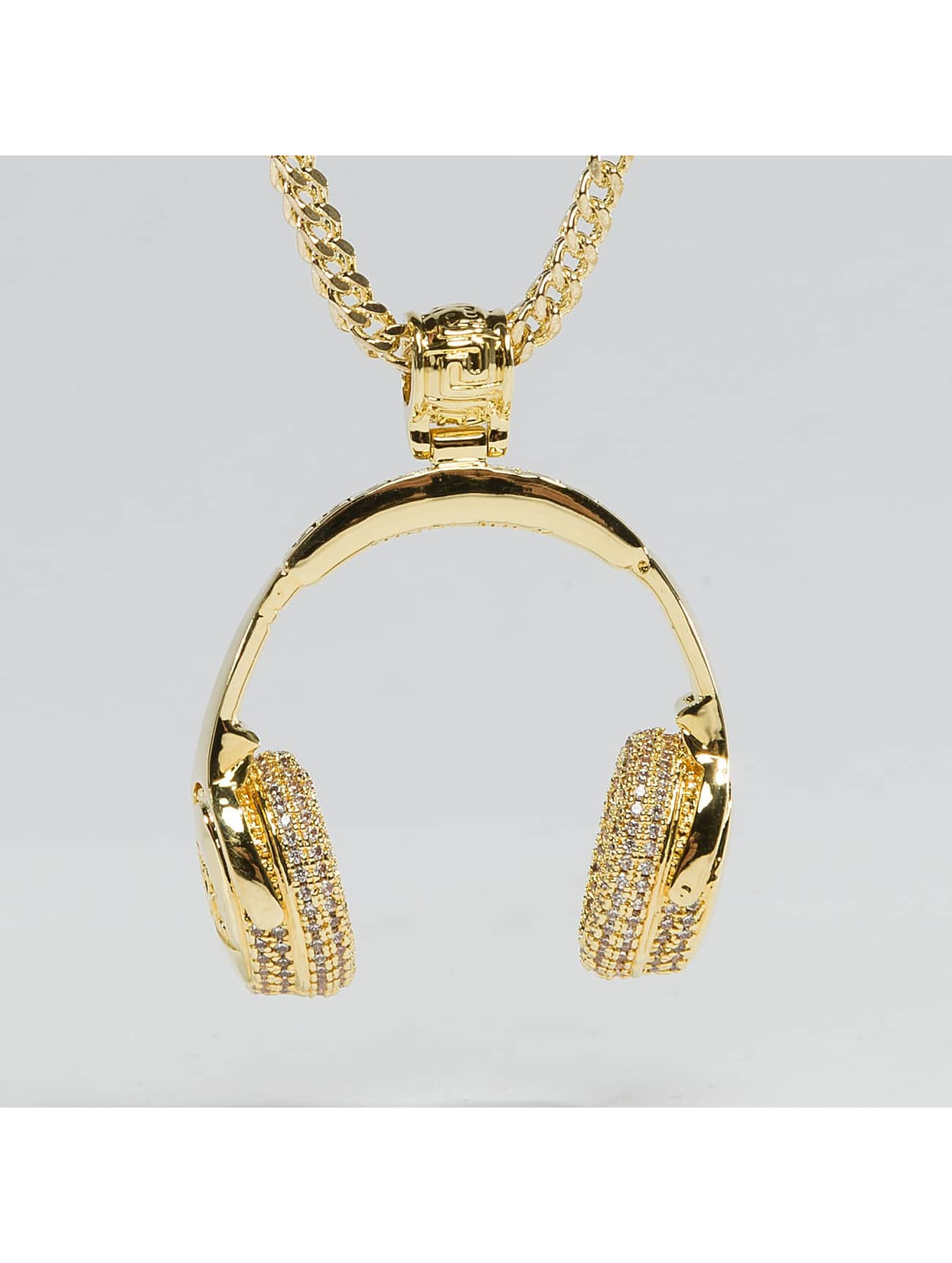 KING ICE Collier JUNGL JULZ Gold_Plated CZ Headphones or