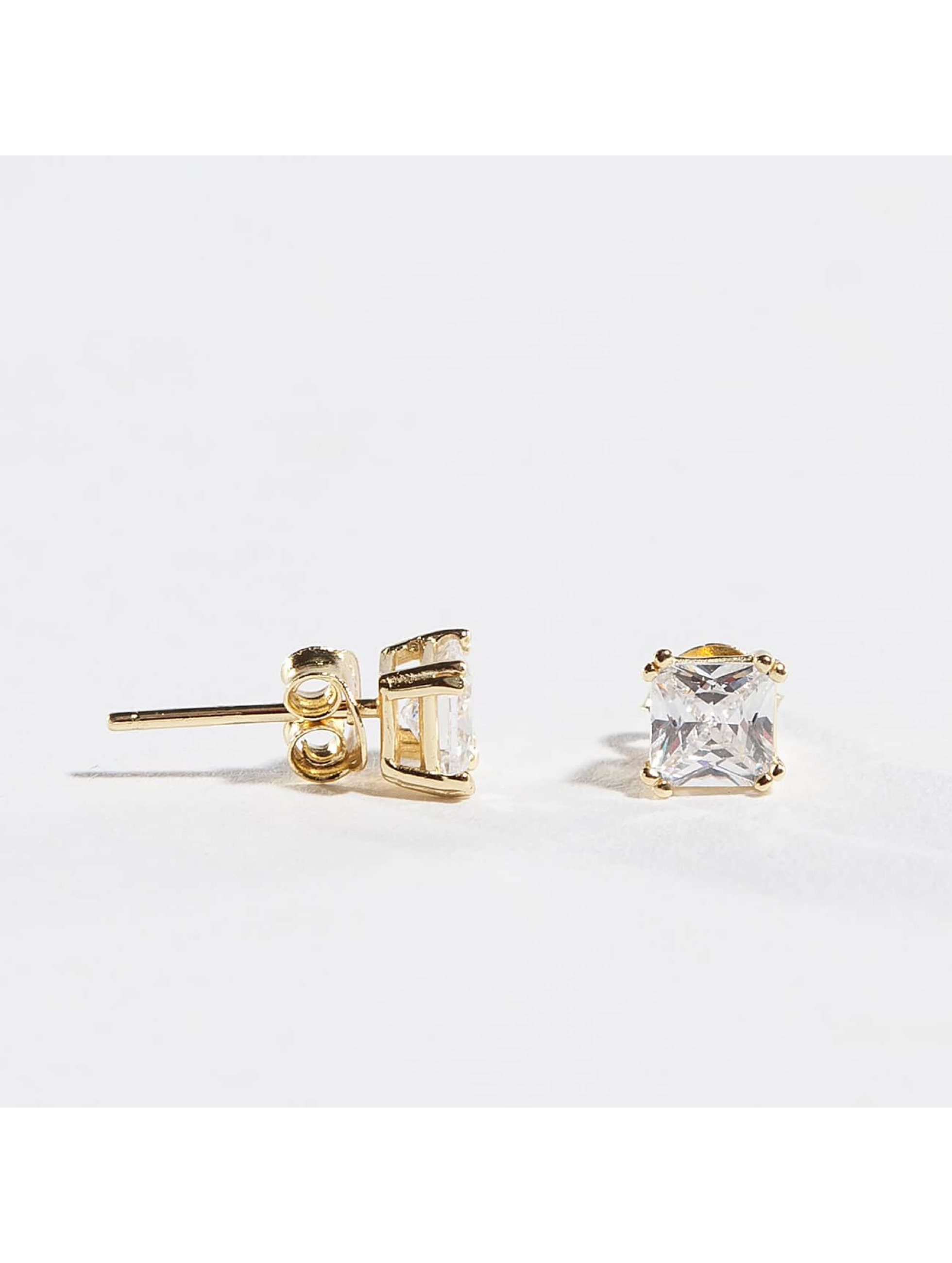 KING ICE Earring 4mm 925 Sterling_Silver Princess Cut gold colored
