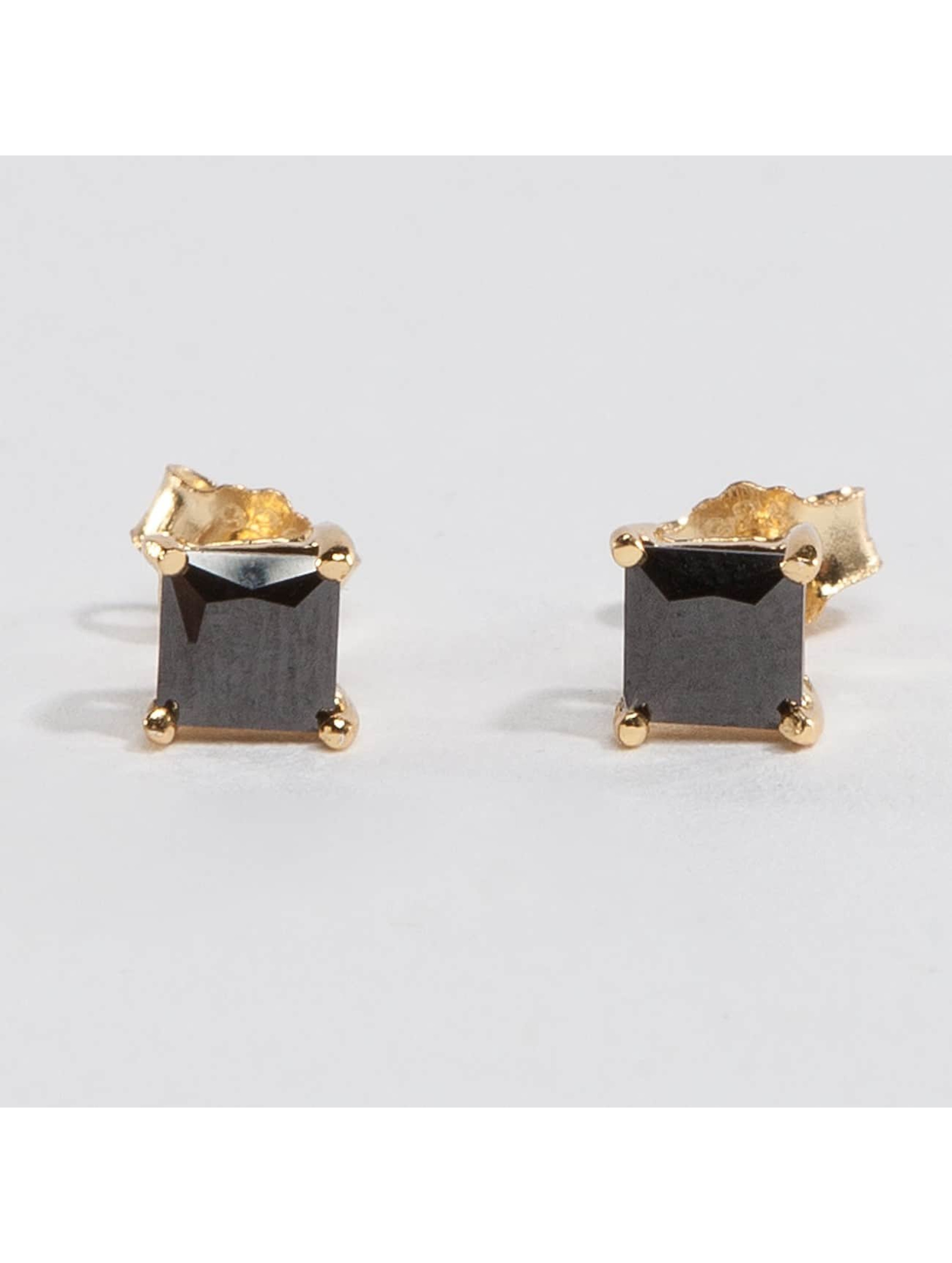 KING ICE Earring Gold_Plated 4mm 925 Sterling_Silver CZ Princess Cut gold colored