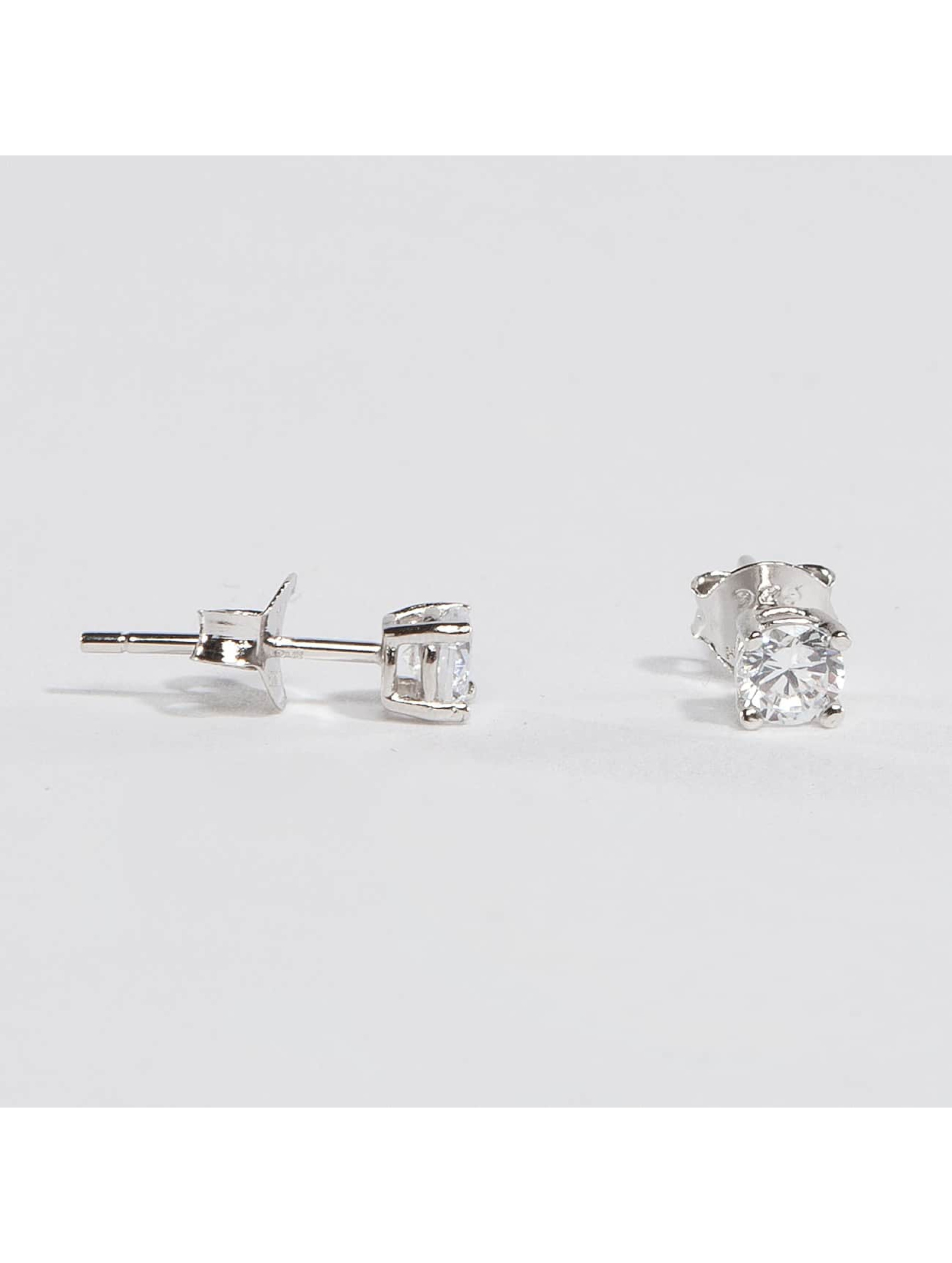 KING ICE Earring Rhodium_Plated 4mm 925 Sterling_Silver CZ silver colored