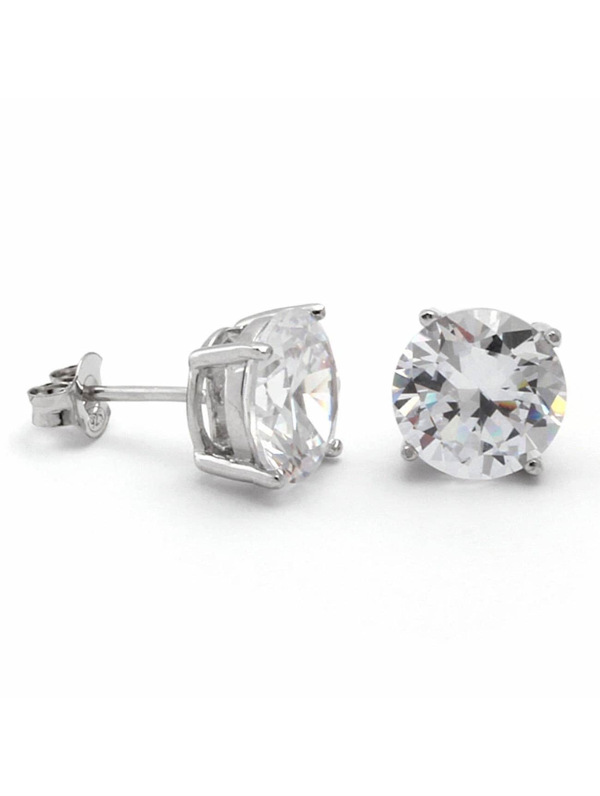 KING ICE Earring Rhodium_Plated 6mm 925 Sterling_Silver CZ silver colored