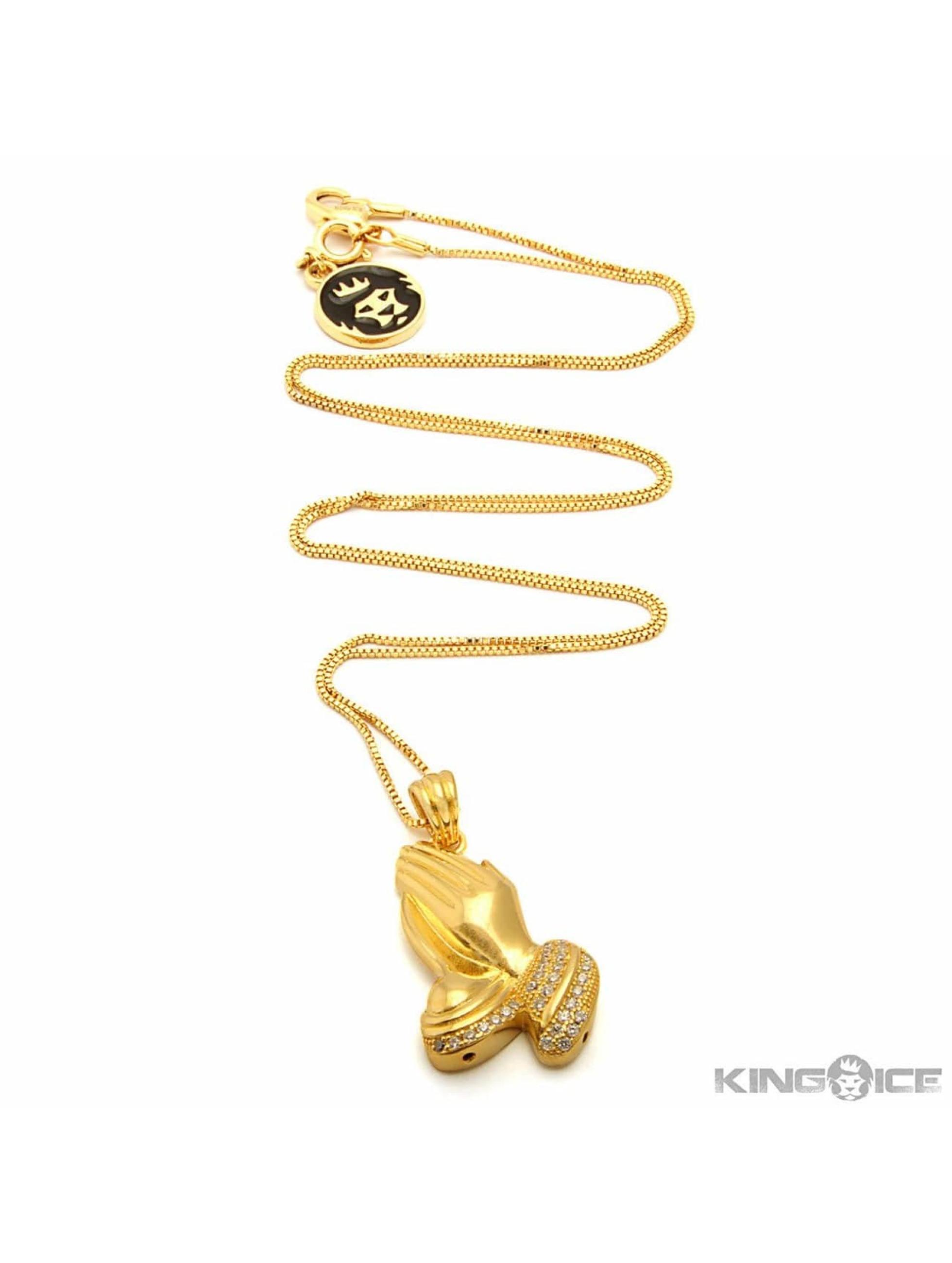KING ICE Kette Praying Hand goldfarben