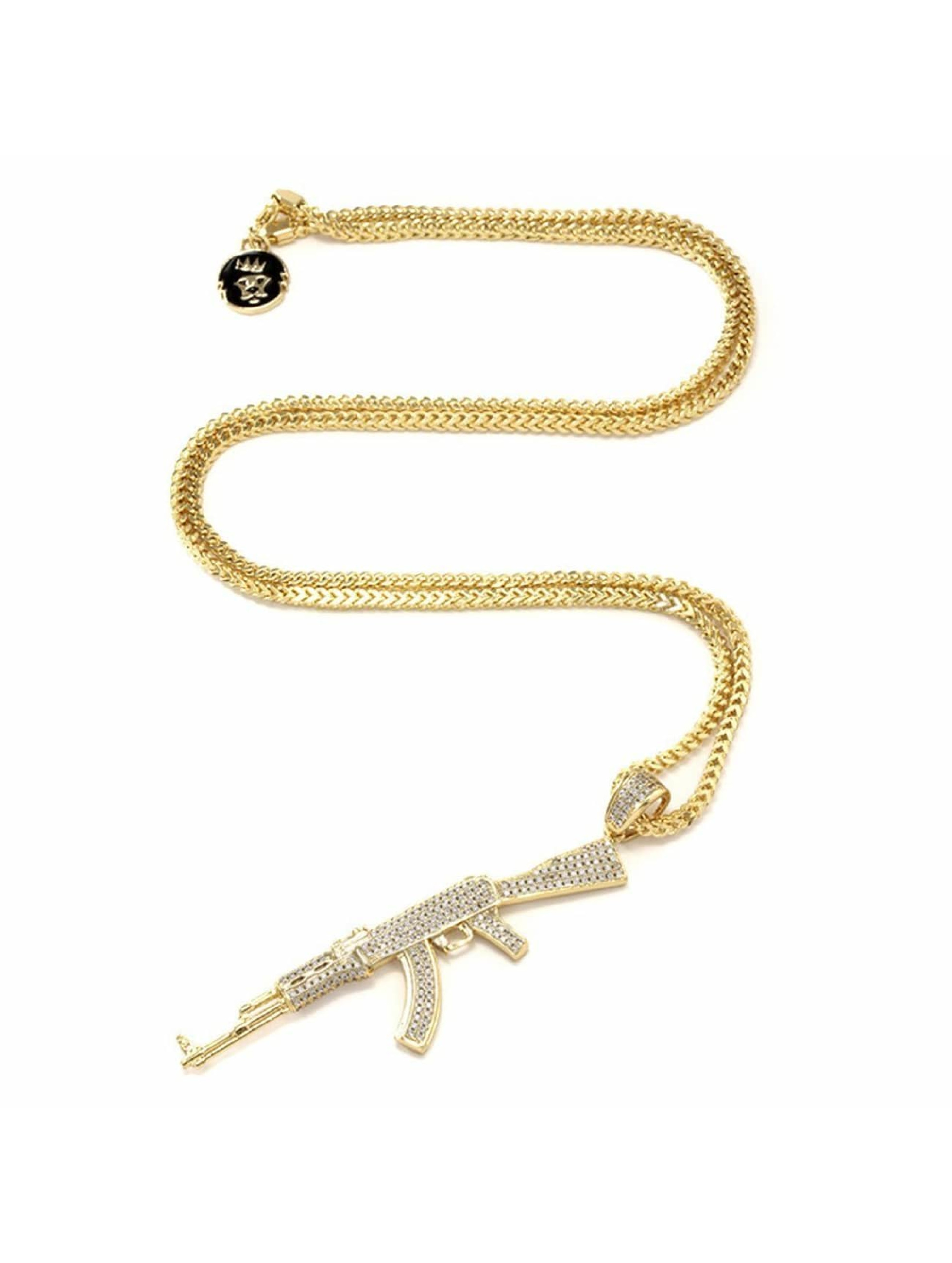 KING ICE ketting Studded AK-47 goud