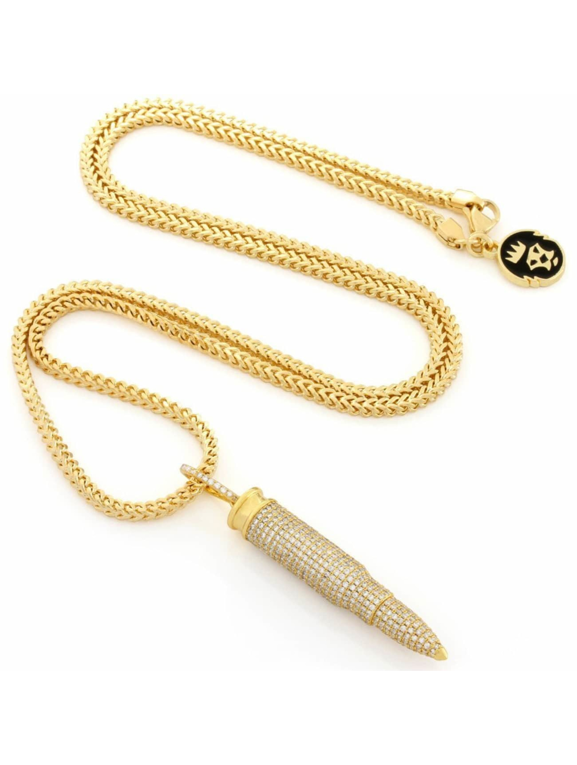 KING ICE ketting Gold_Plated CZ 223 Caliber Bullet goud