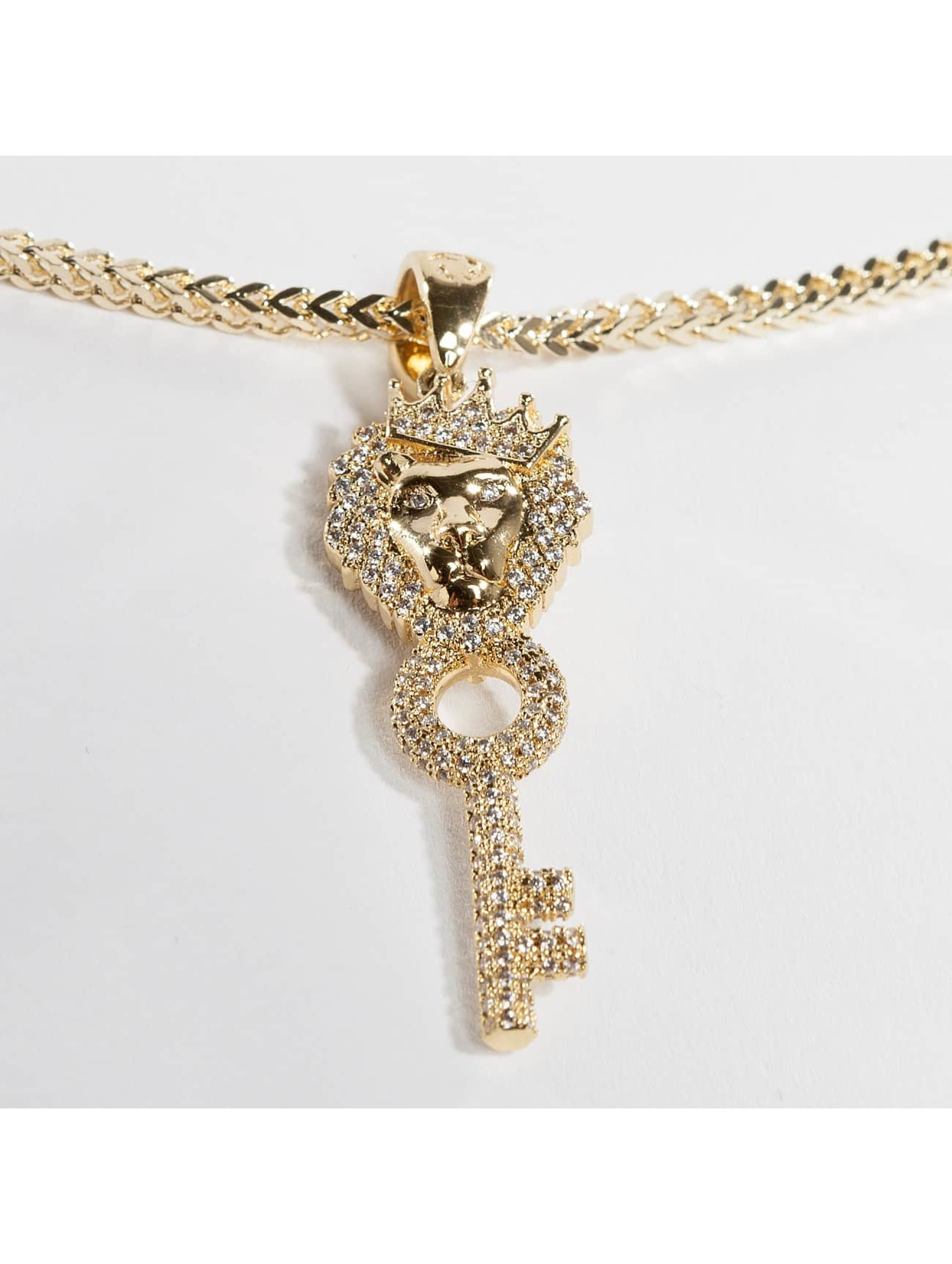 KING ICE ketting Gold_Plated CZ The Major Key goud