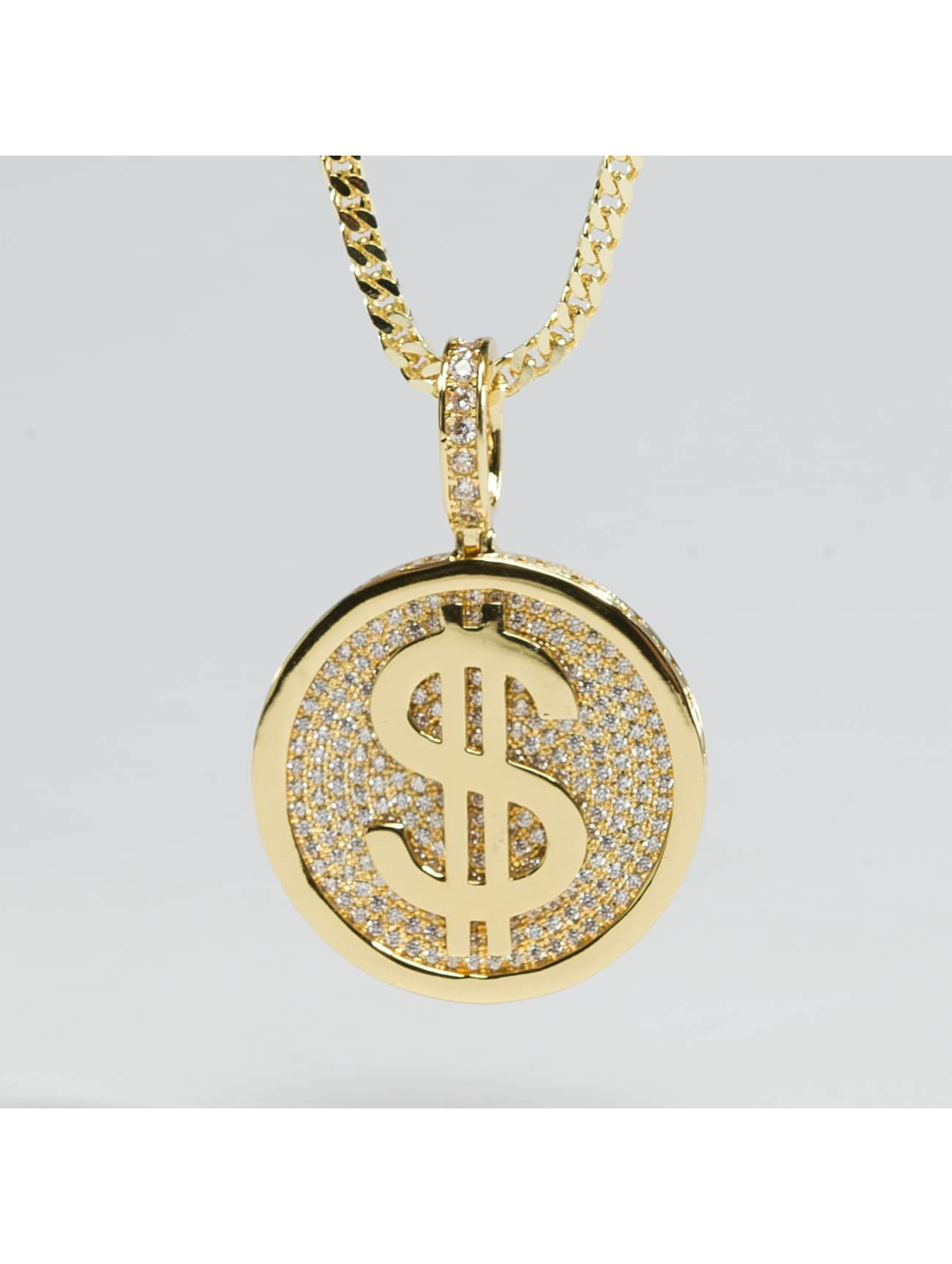 KING ICE ketting Gold_Plated CZ Gold_Fortune Coin goud