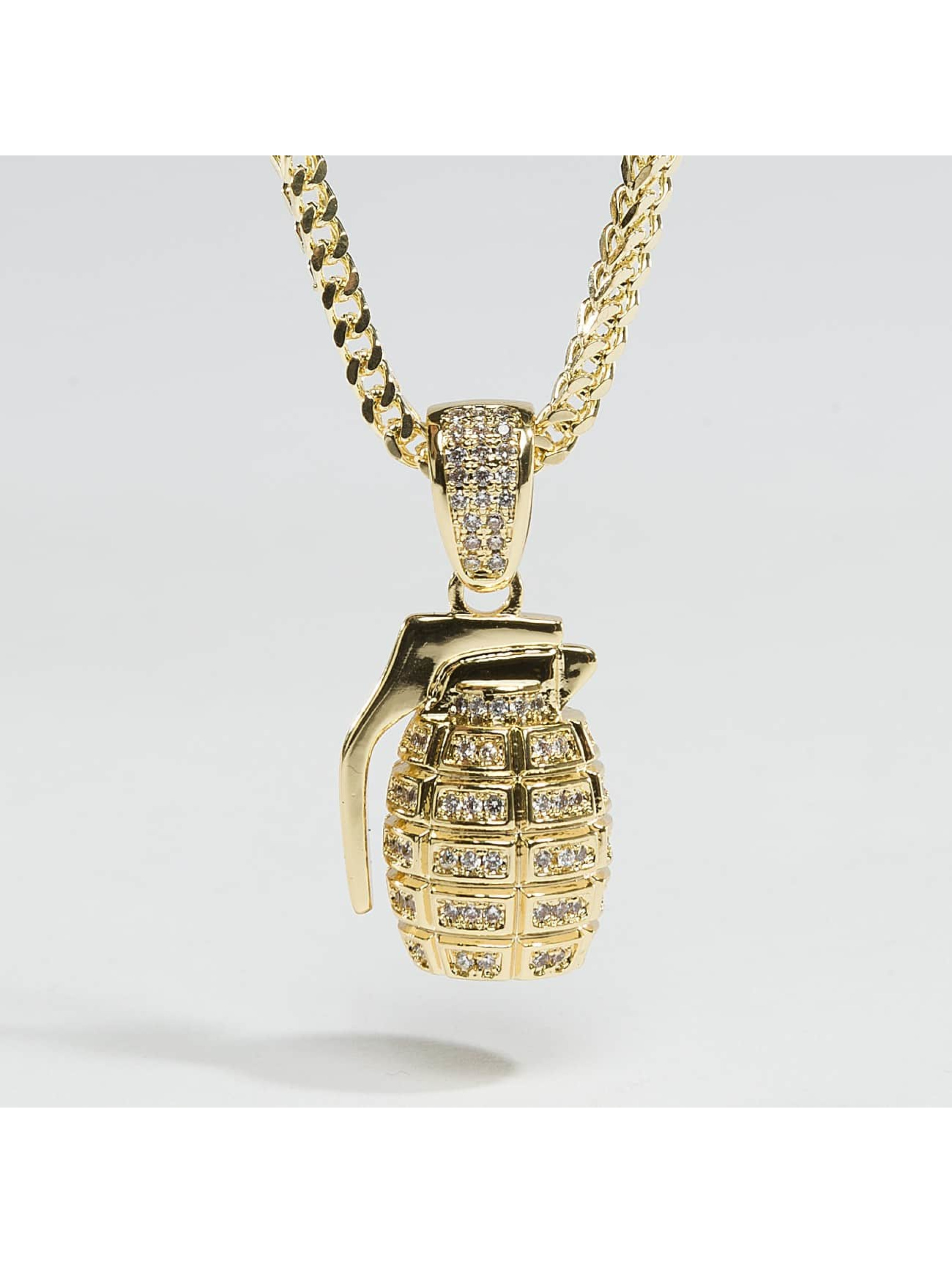 KING ICE ketting Gold_Plated CZ Hand Grenade goud
