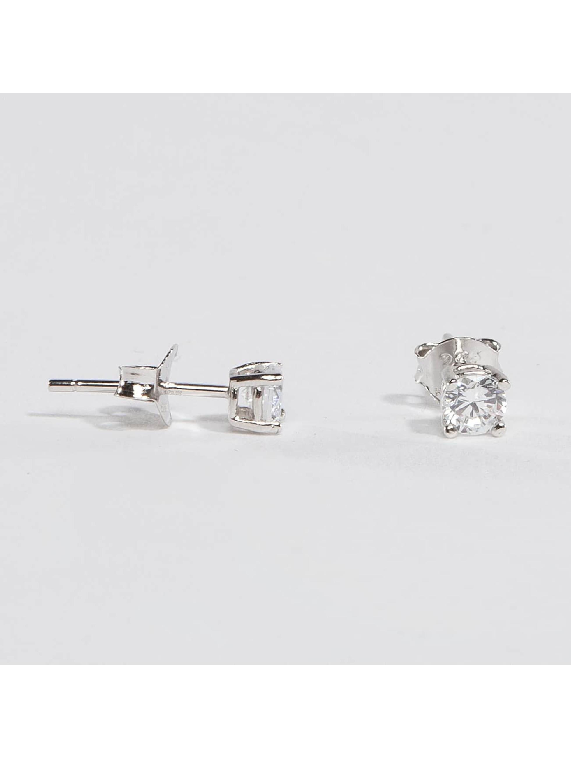 KING ICE Kolczyki Rhodium_Plated 4mm 925 Sterling_Silver CZ srebrny