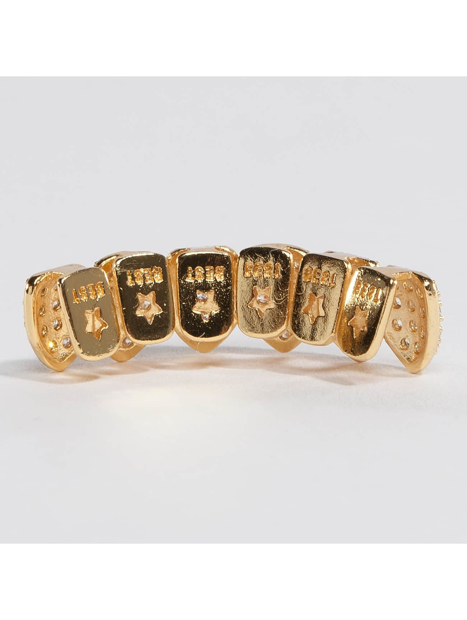 KING ICE More Gold_Plated CZ Studded Teeth Bottom gold colored