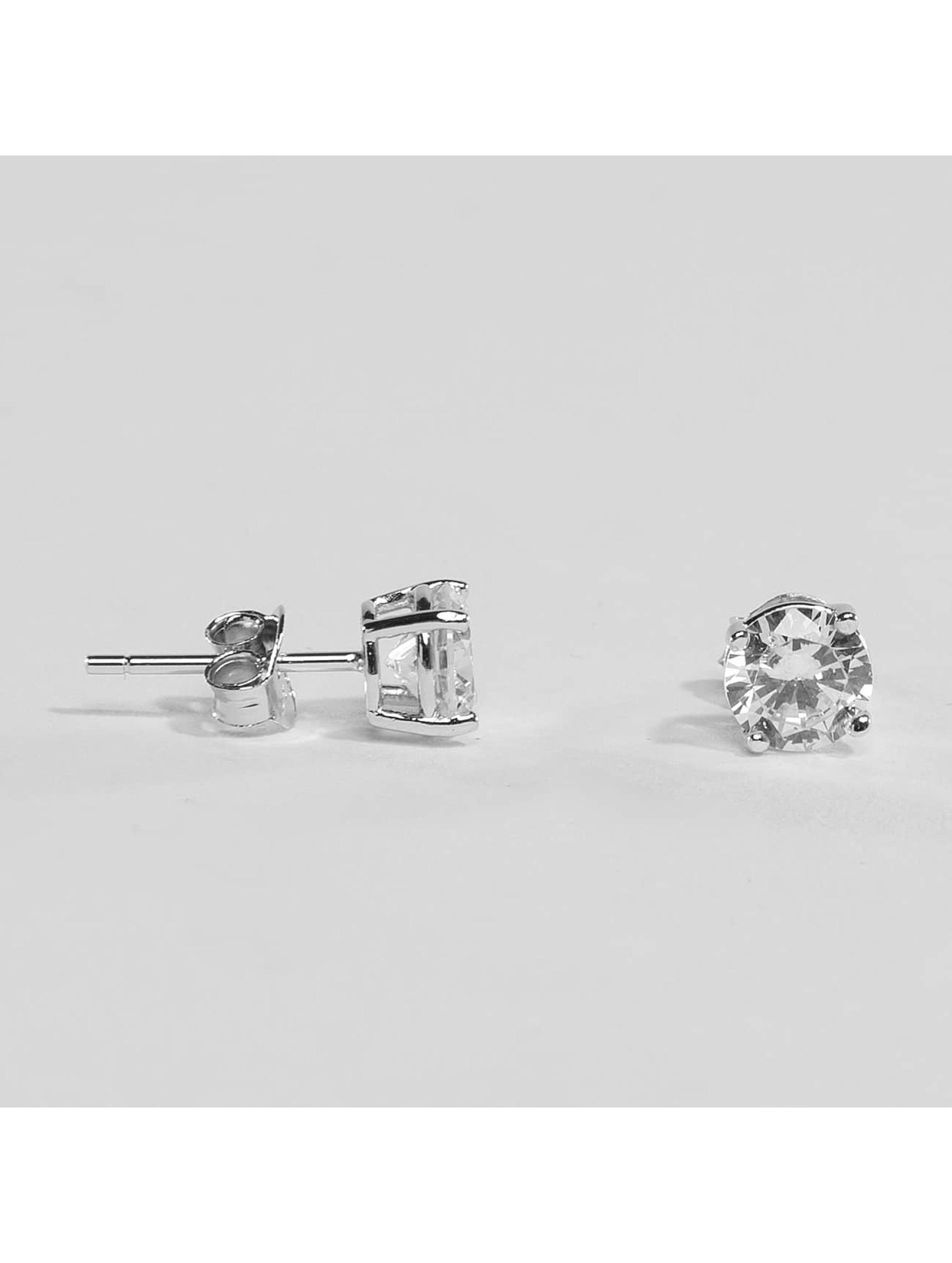 KING ICE Náušnice Rhodium_Plated 6mm 925 Sterling_Silver CZ strieborná