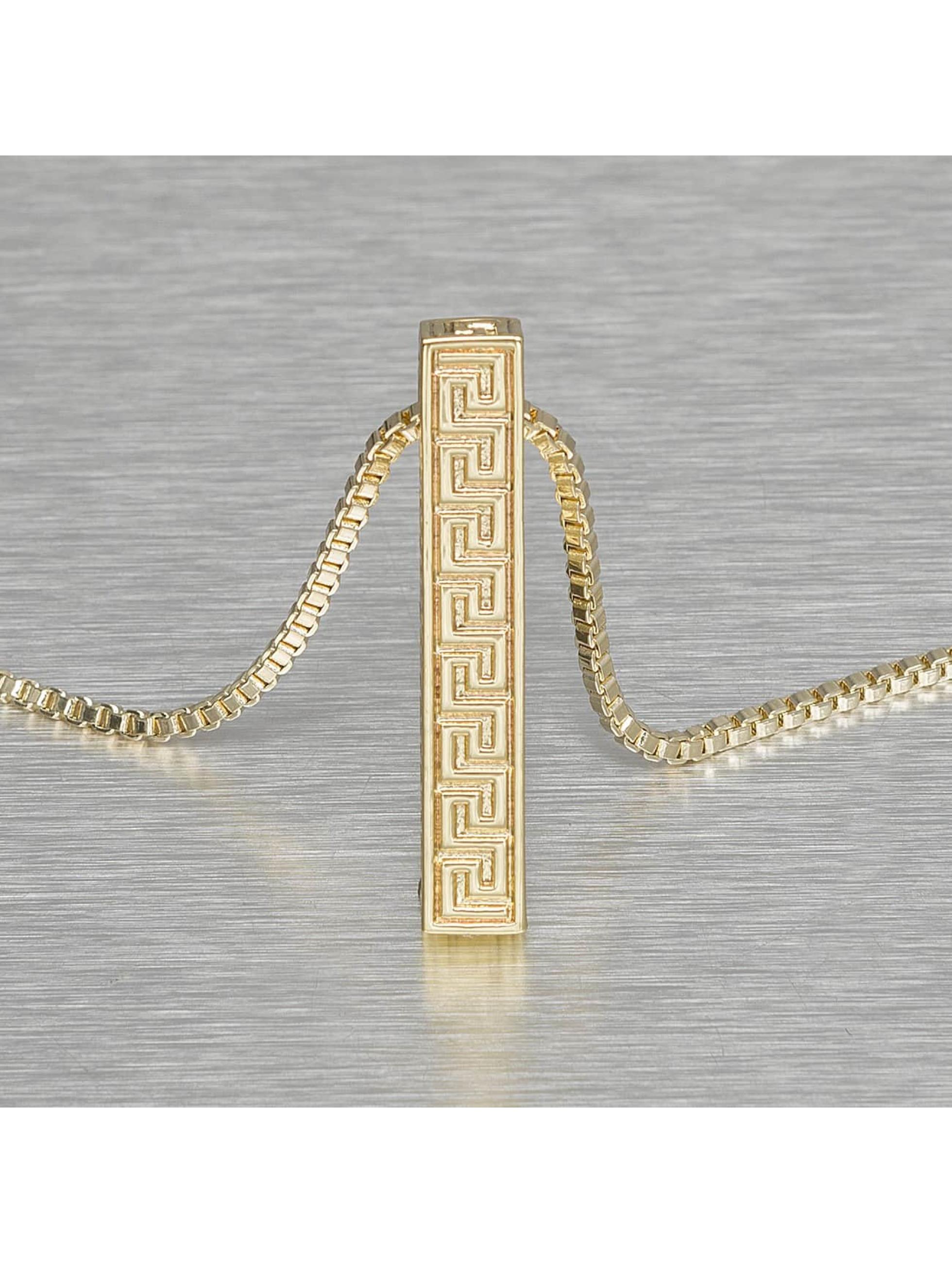 KING ICE Necklace Greek Key Pillar gold