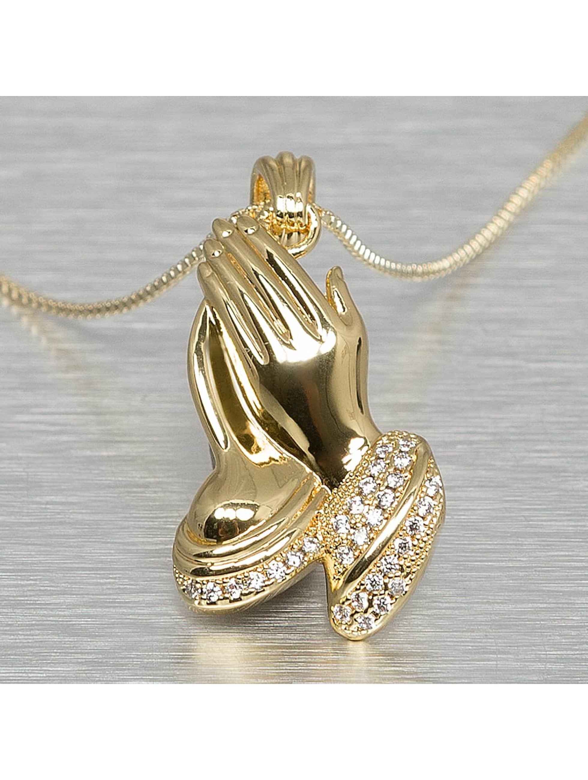 KING ICE Necklace Praying Hand gold