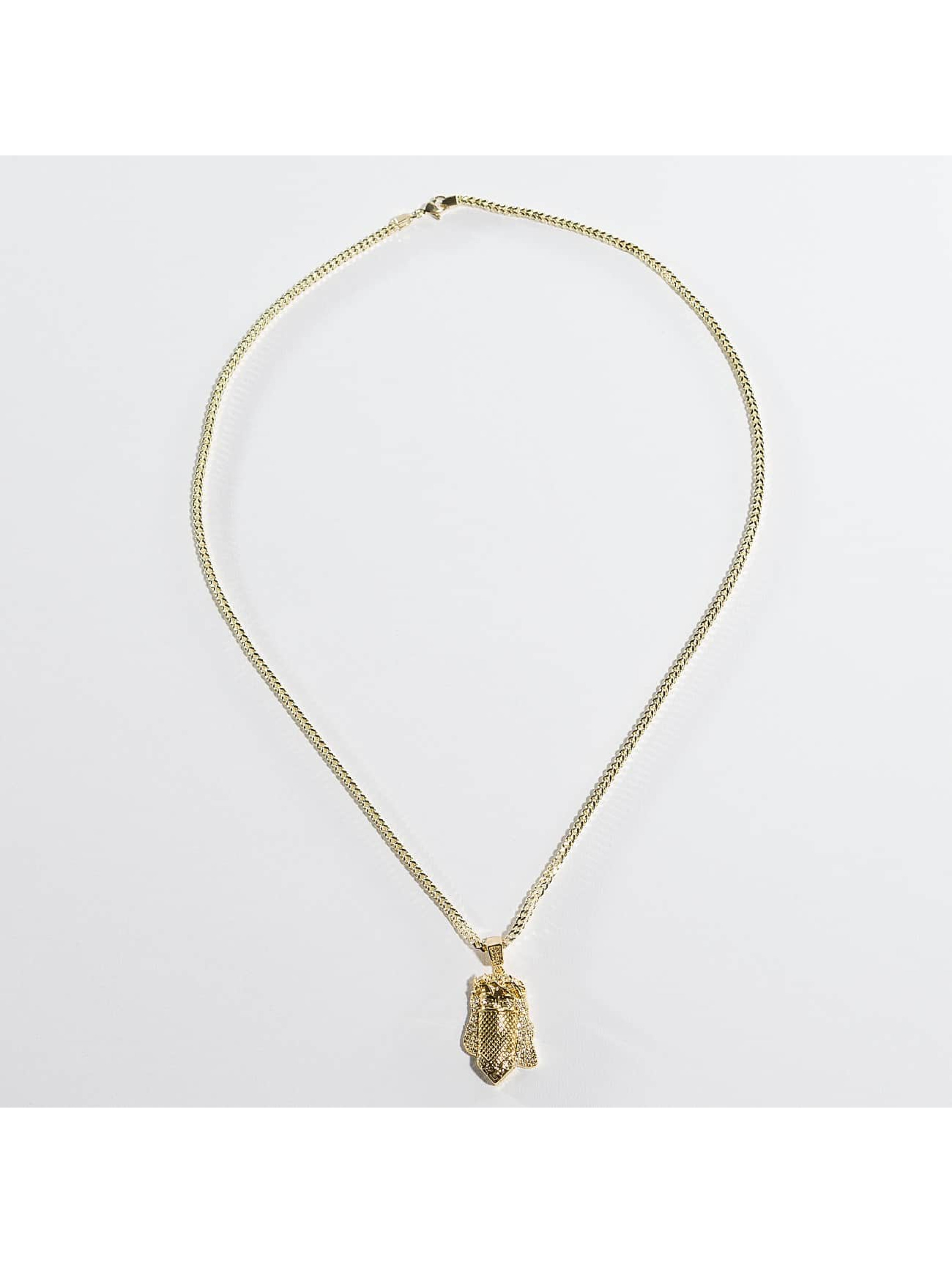 KING ICE Necklace Gold_Plated CZ Masked Jesus gold