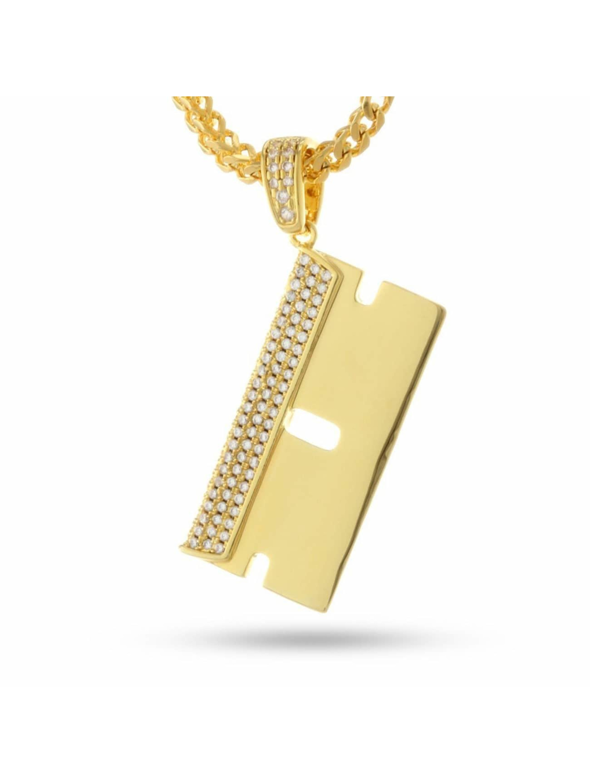 KING ICE Necklace Gold_Plated CZ Barber RZR Blade gold