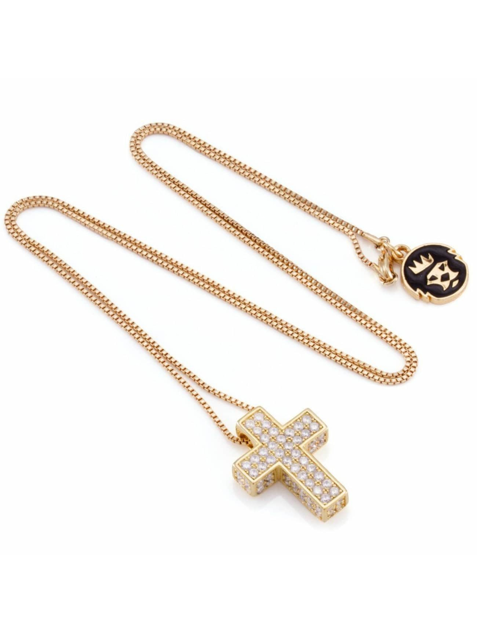 KING ICE Necklace Gold_Plated CZ 925 Sterling_Silver Dime Cross gold