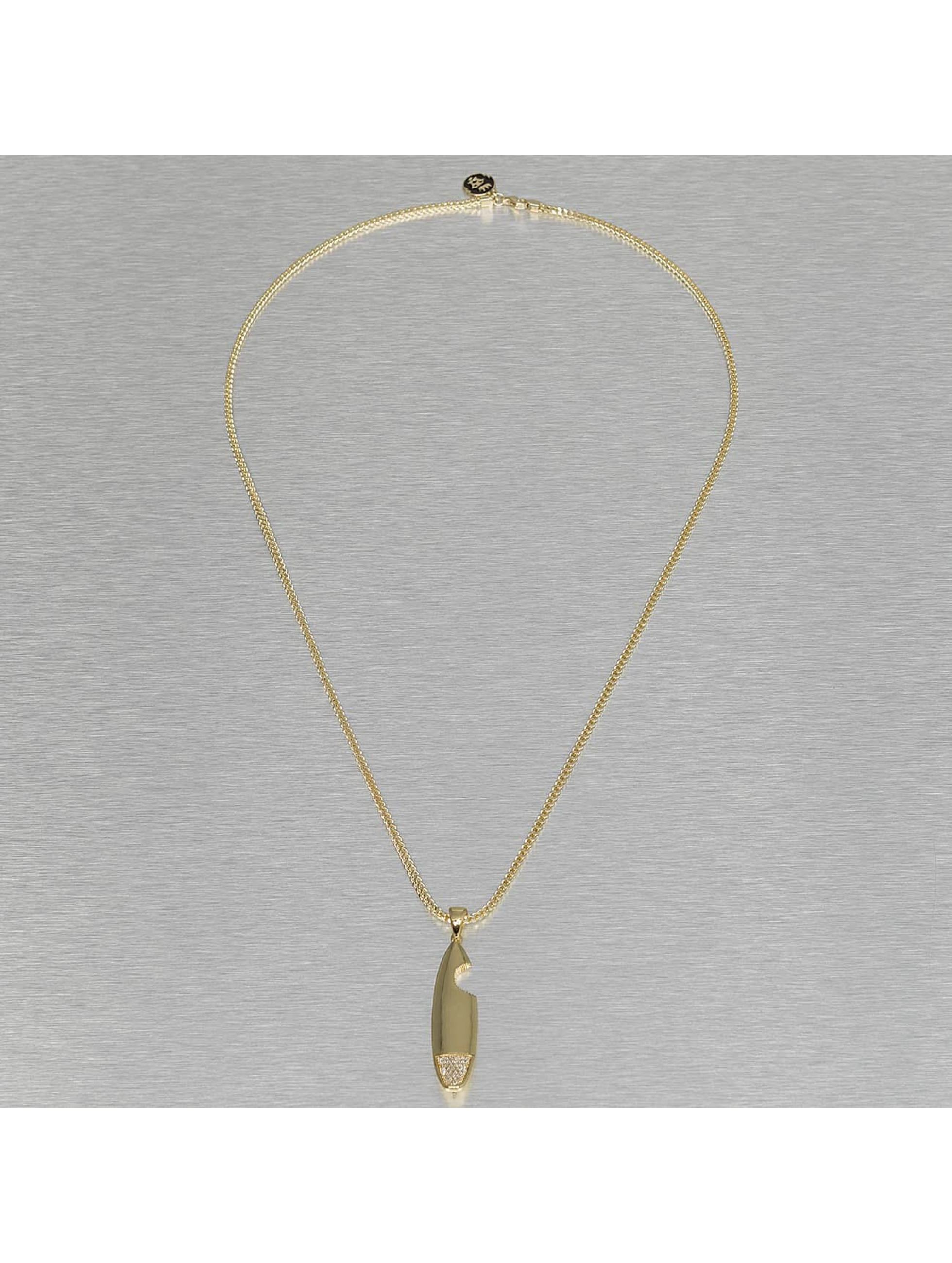KING ICE Necklace Shark Bite Surfboard gold colored
