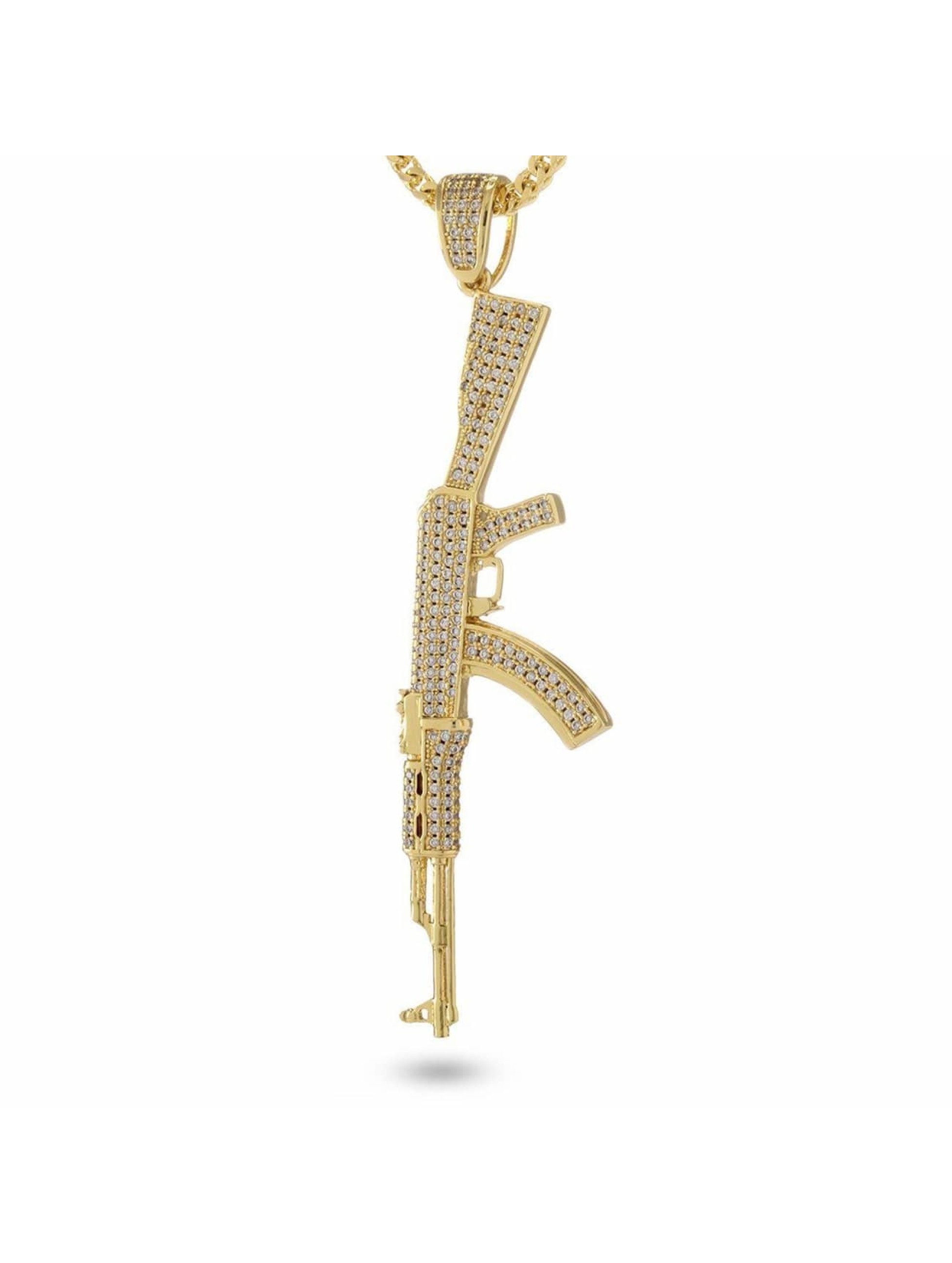 KING ICE Necklace Studded AK-47 gold colored