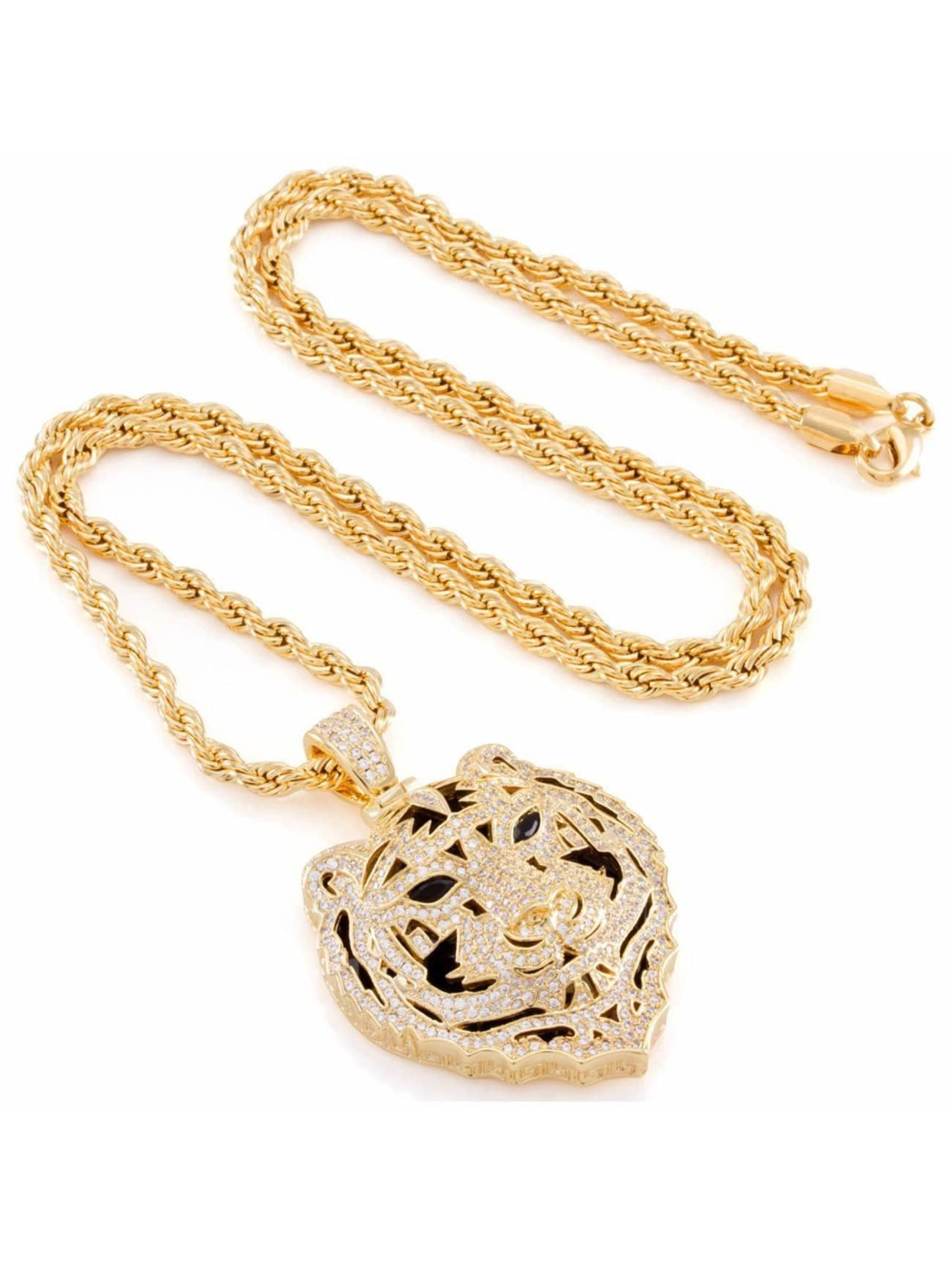 KING ICE Necklace Jungl Julz Bengal Tiger gold colored