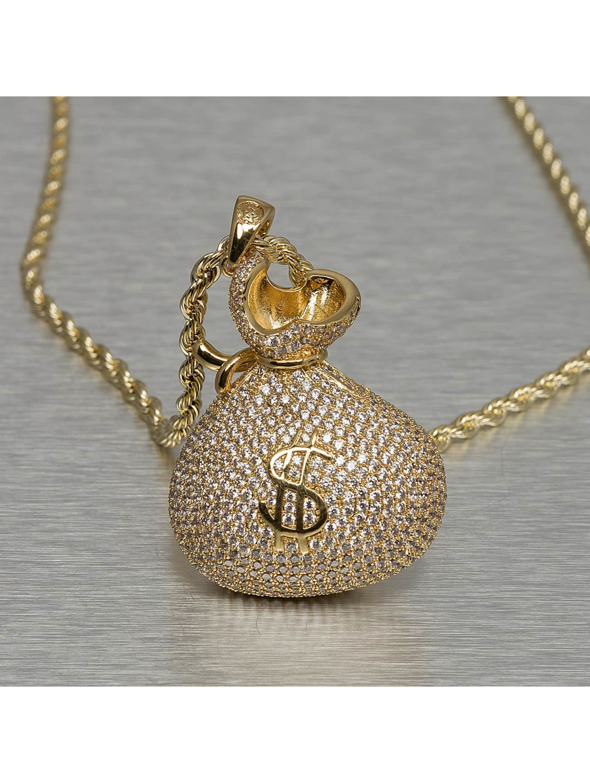 """KING ICE Necklace """"Stash"""" Iced-Out Money Bag gold colored"""