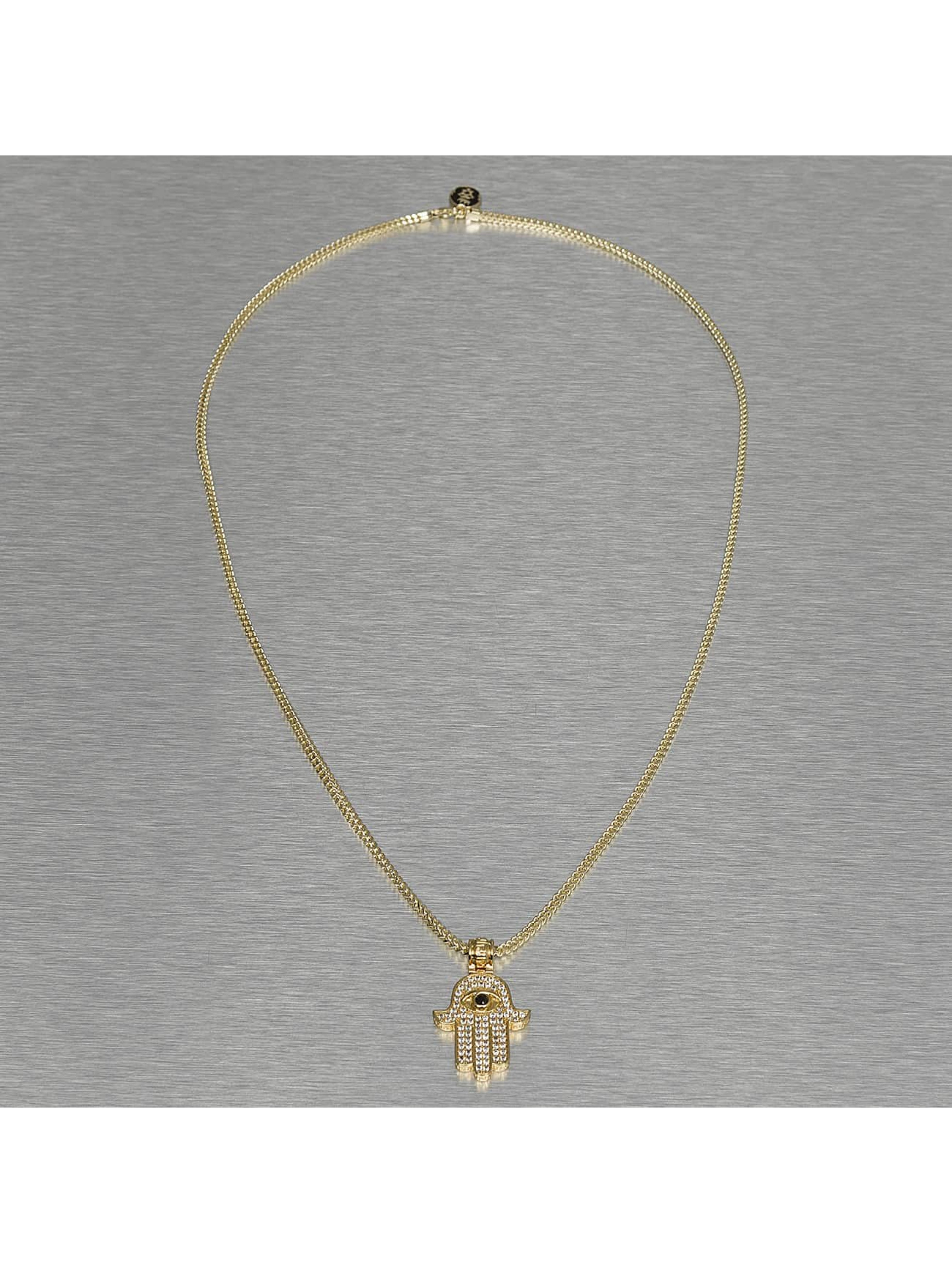 KING ICE Necklace Hamsa gold colored