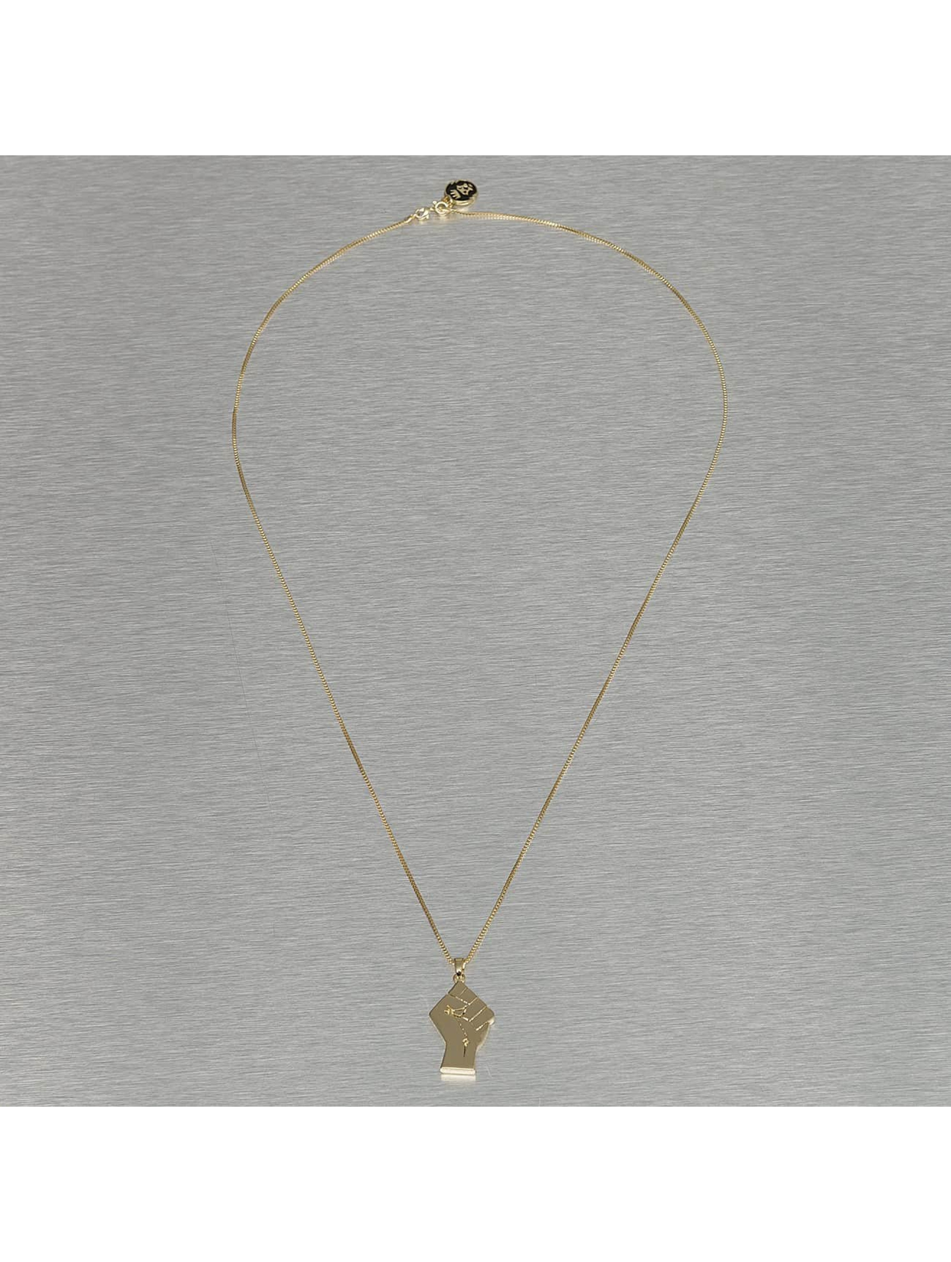 KING ICE Necklace Raised Fist gold colored