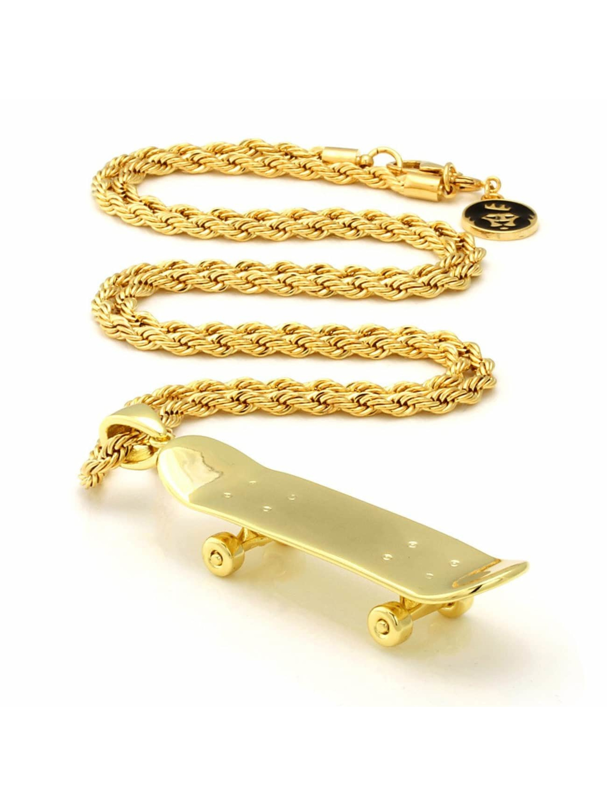KING ICE Necklace Solid Skateboard gold colored