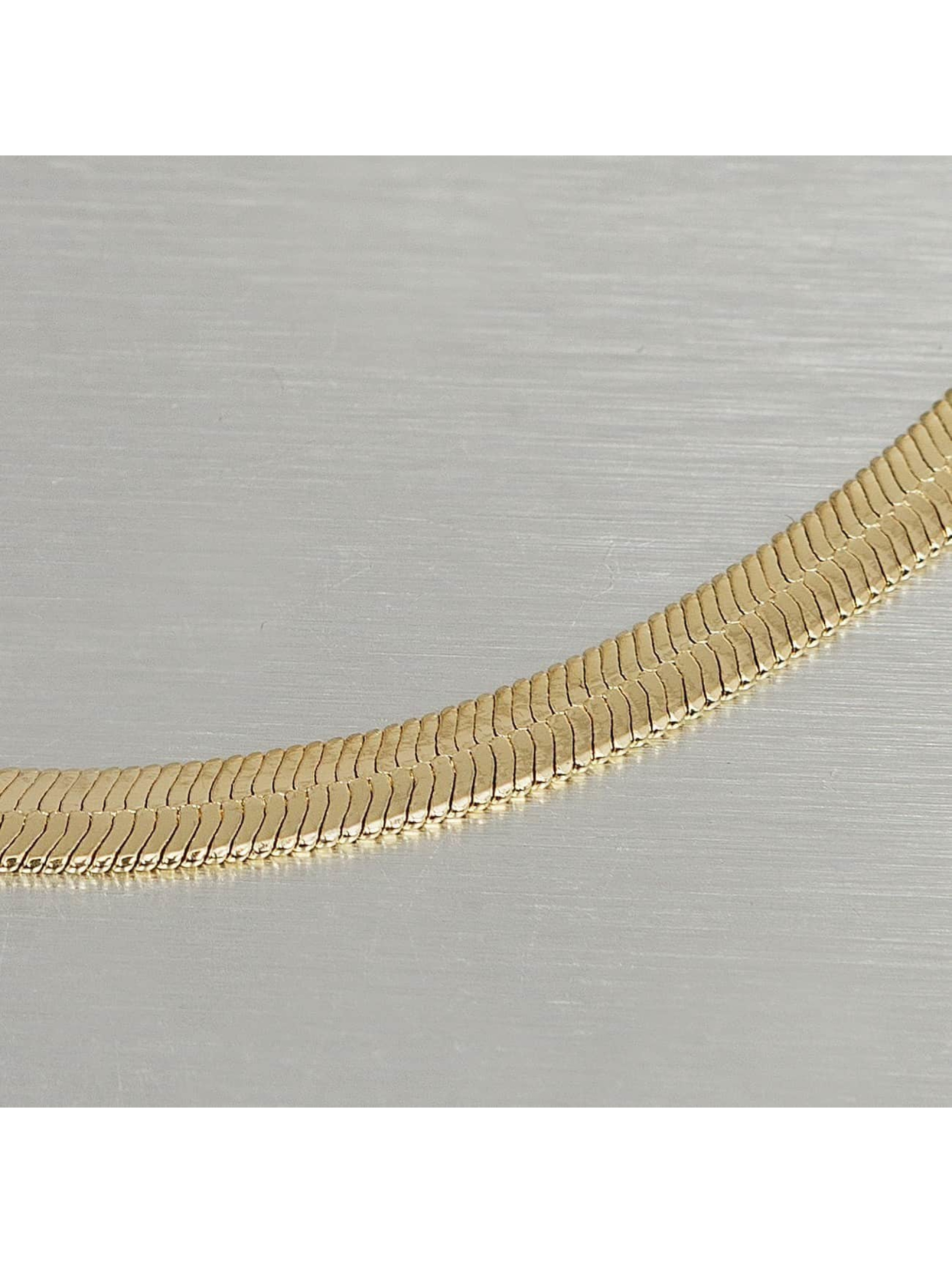 KING ICE Necklace Gold_Plated 5mm Thin Herringbone Chain gold colored
