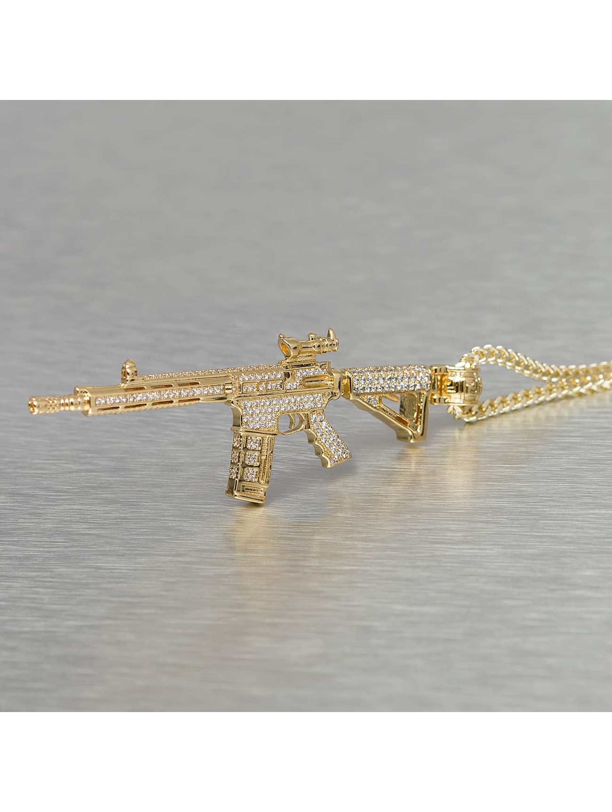 KING ICE Necklace Gold_Plated CZ Studded M4 Long Range Assault Rifle gold colored
