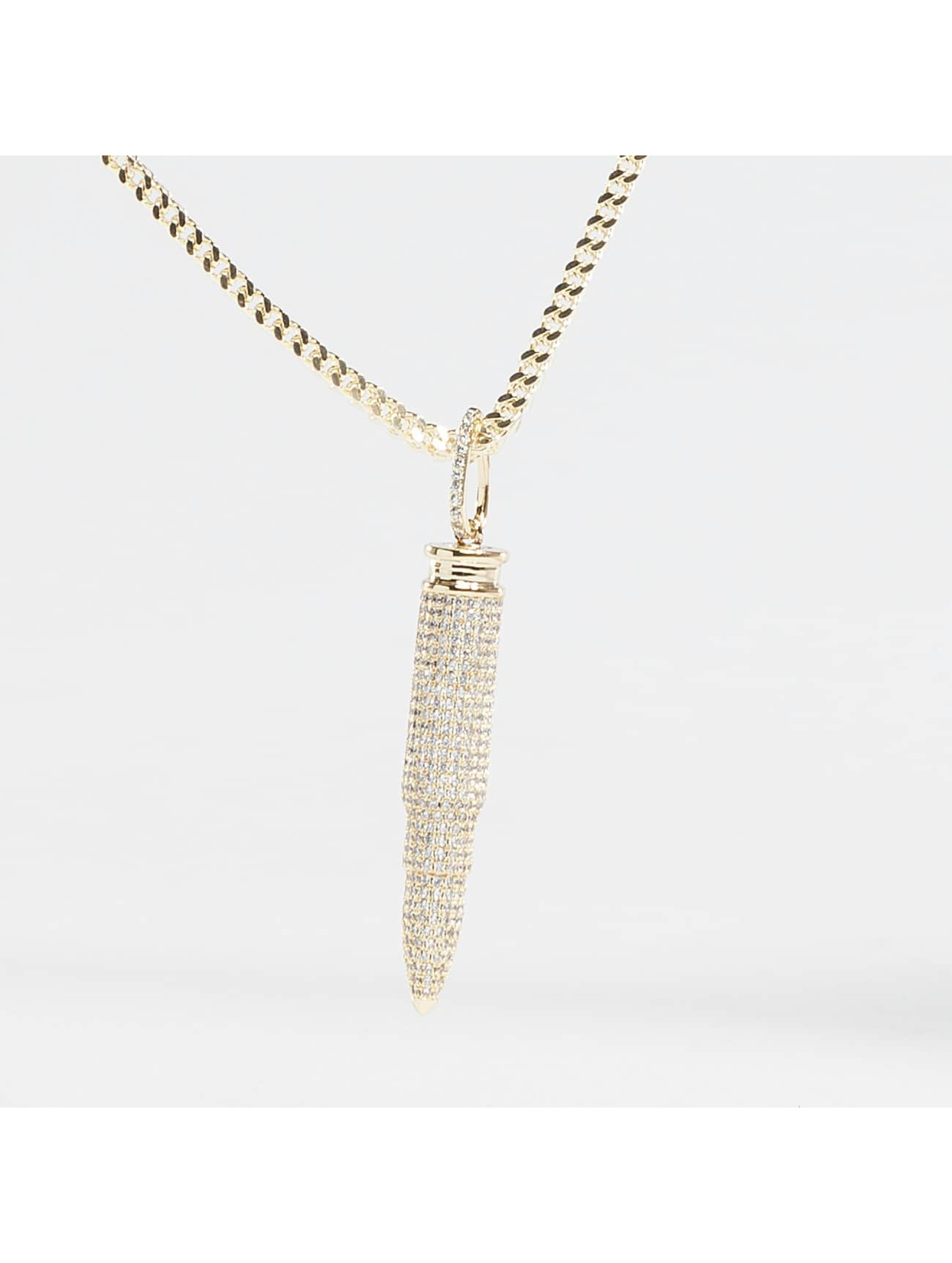 KING ICE Necklace Gold_Plated CZ 223 Caliber Bullet gold colored