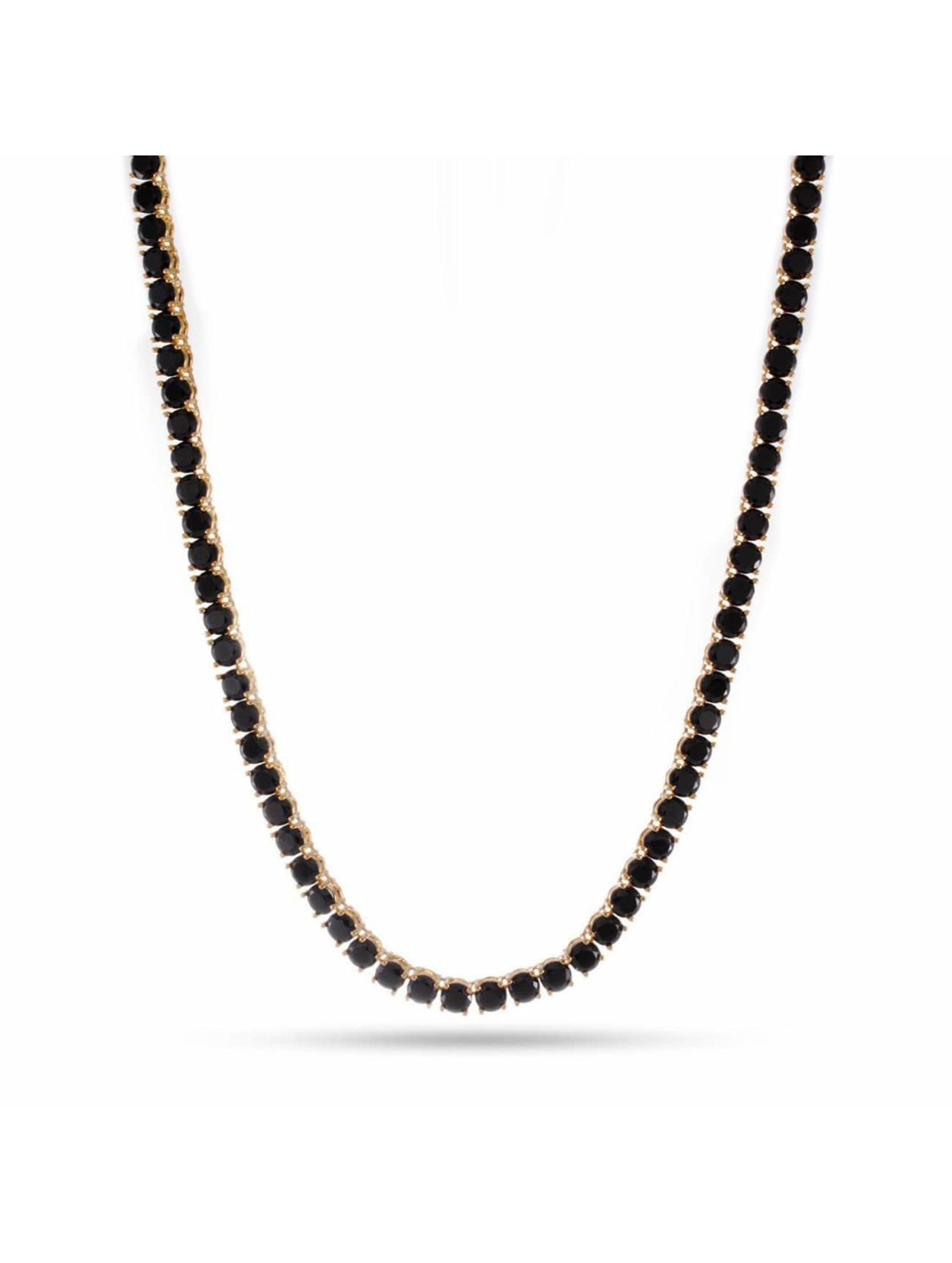 KING ICE Necklace Gold_Plated 5mm Single Row CZ Pharaoh gold colored