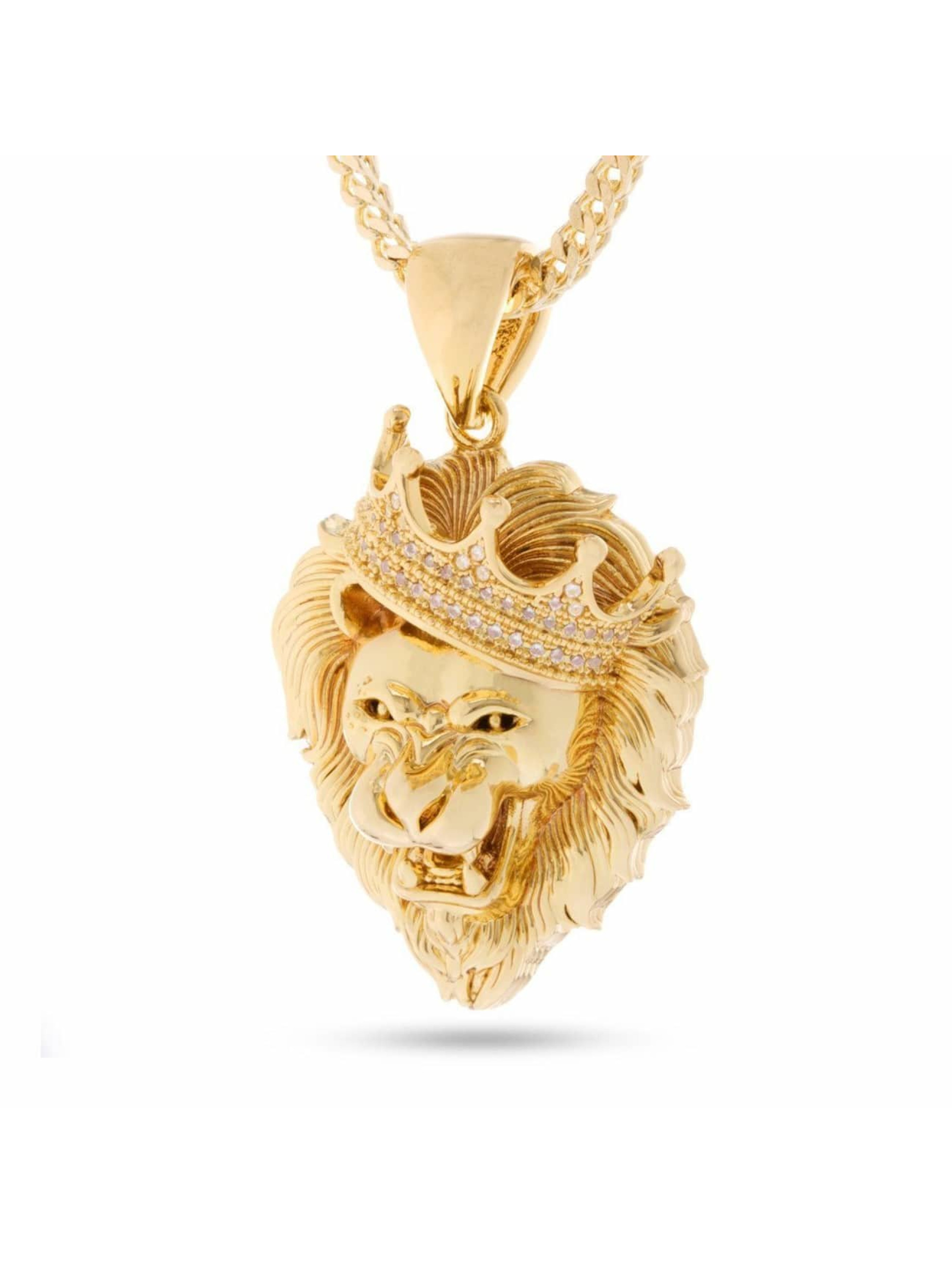 KING ICE Necklace Gold_Plated CZ Roaring Lion gold colored