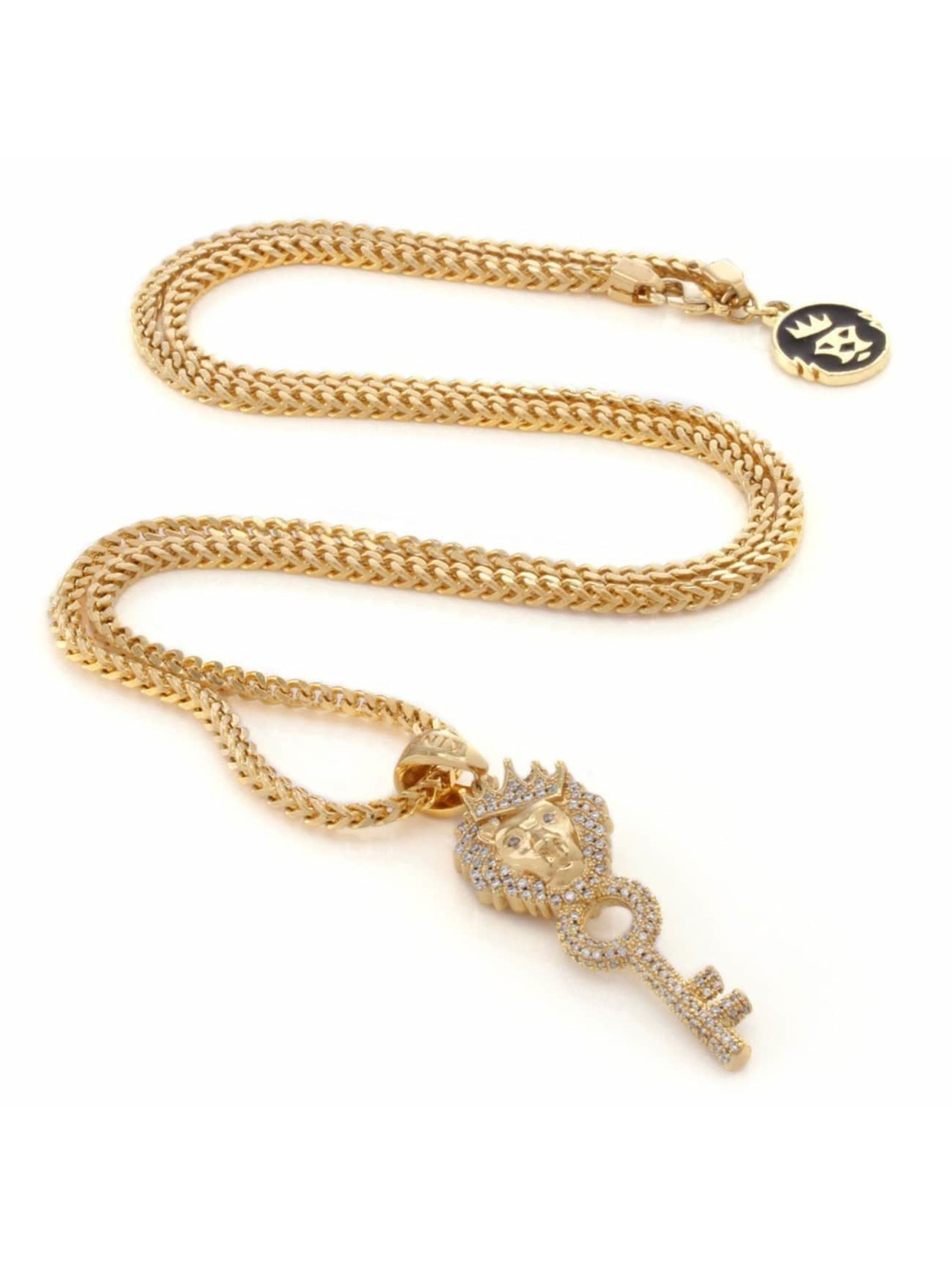 KING ICE Necklace Gold_Plated CZ The Major Key gold colored